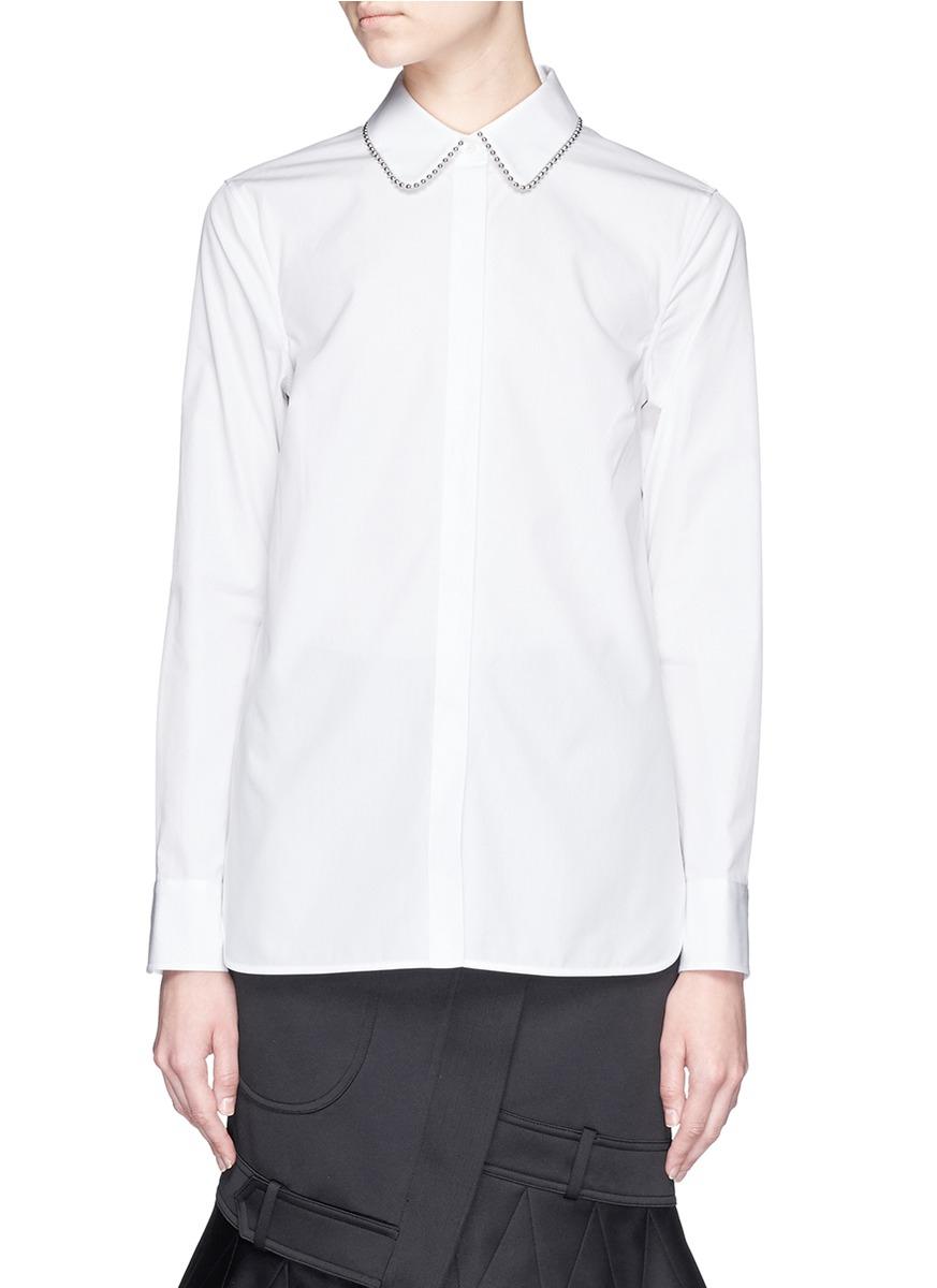 Lyst alexander wang ball chain collar cotton poplin for What is a poplin shirt