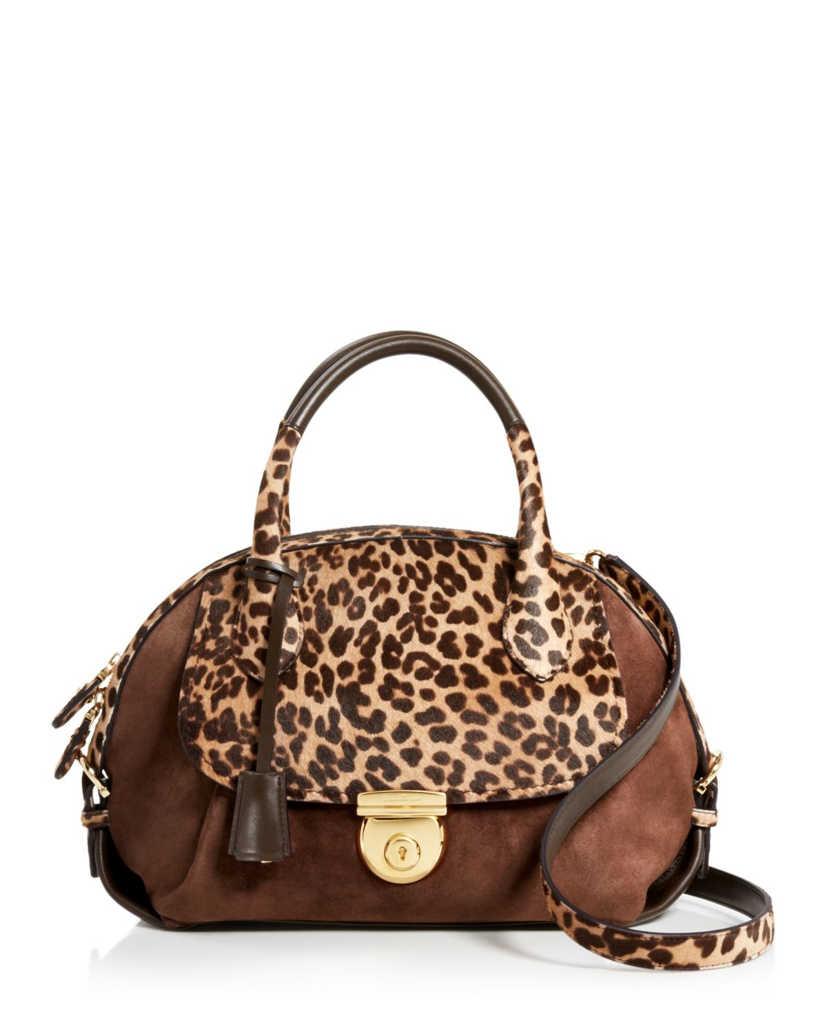 a6bbc517fb07 Lyst - Ferragamo Fiamma Medium Leopard Calf Hair Satchel