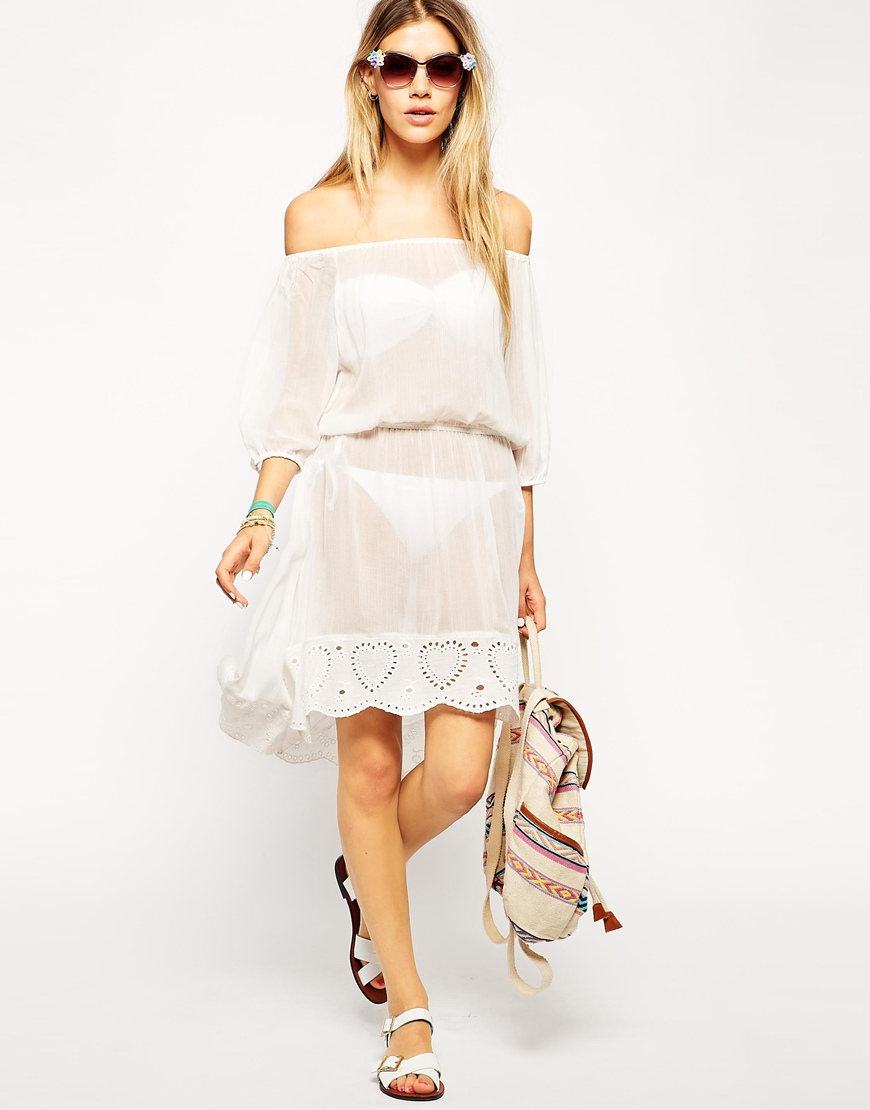 ddcd6a92d5 Lyst - ASOS Off Shoulder Crochet Trim Beach Dress in White