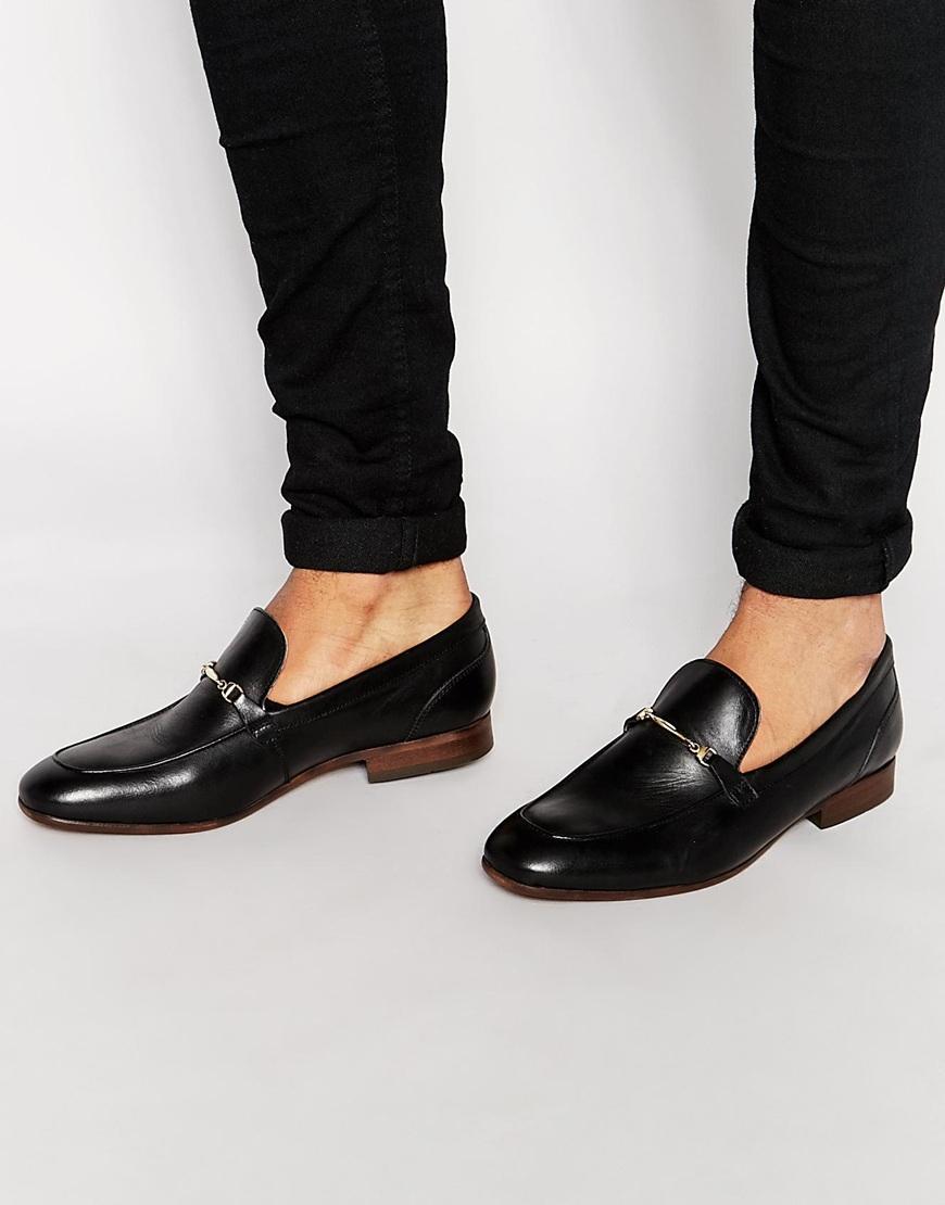 h by hudson navarre leather loafers black in black lyst. Black Bedroom Furniture Sets. Home Design Ideas