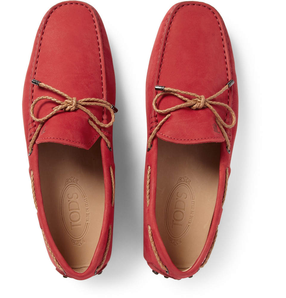 Lyst Tod S Gommino Nubuck Leather Driving Shoes In Red