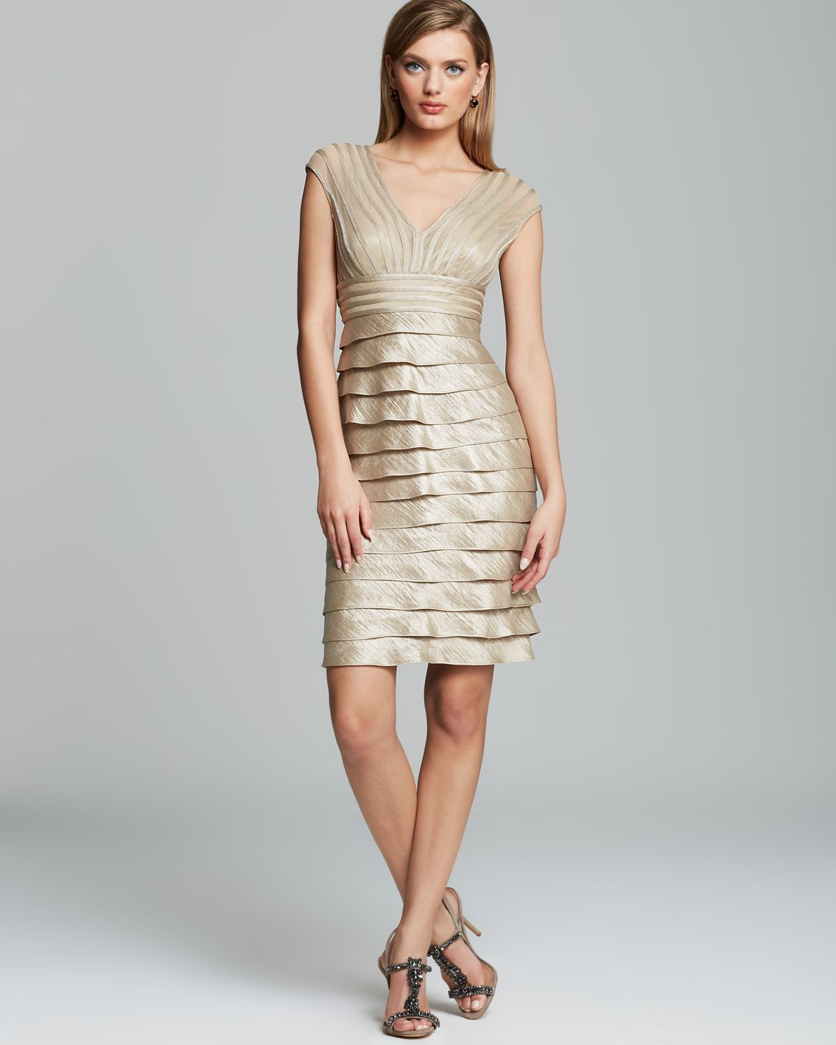 Adrianna papell Dress Cap Sleeve V Neck Tiered Sheath in Natural ...