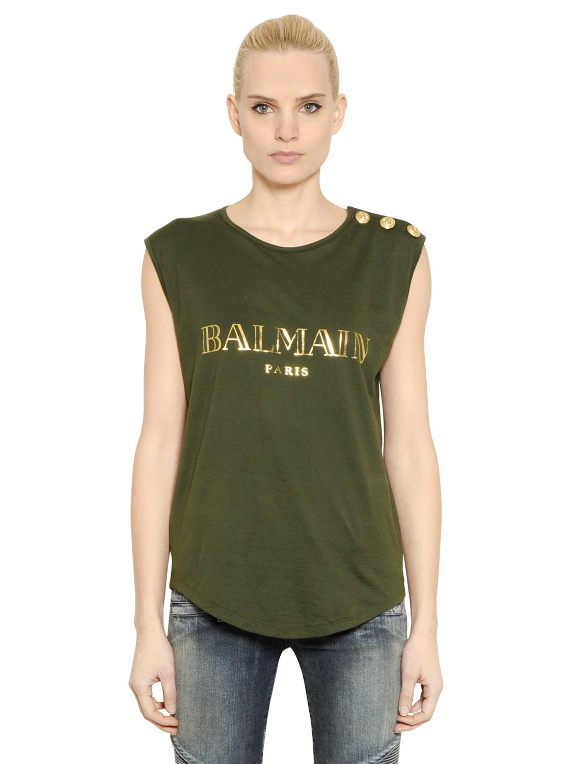 balmain logo printed cotton t shirt in green khaki gold lyst. Black Bedroom Furniture Sets. Home Design Ideas