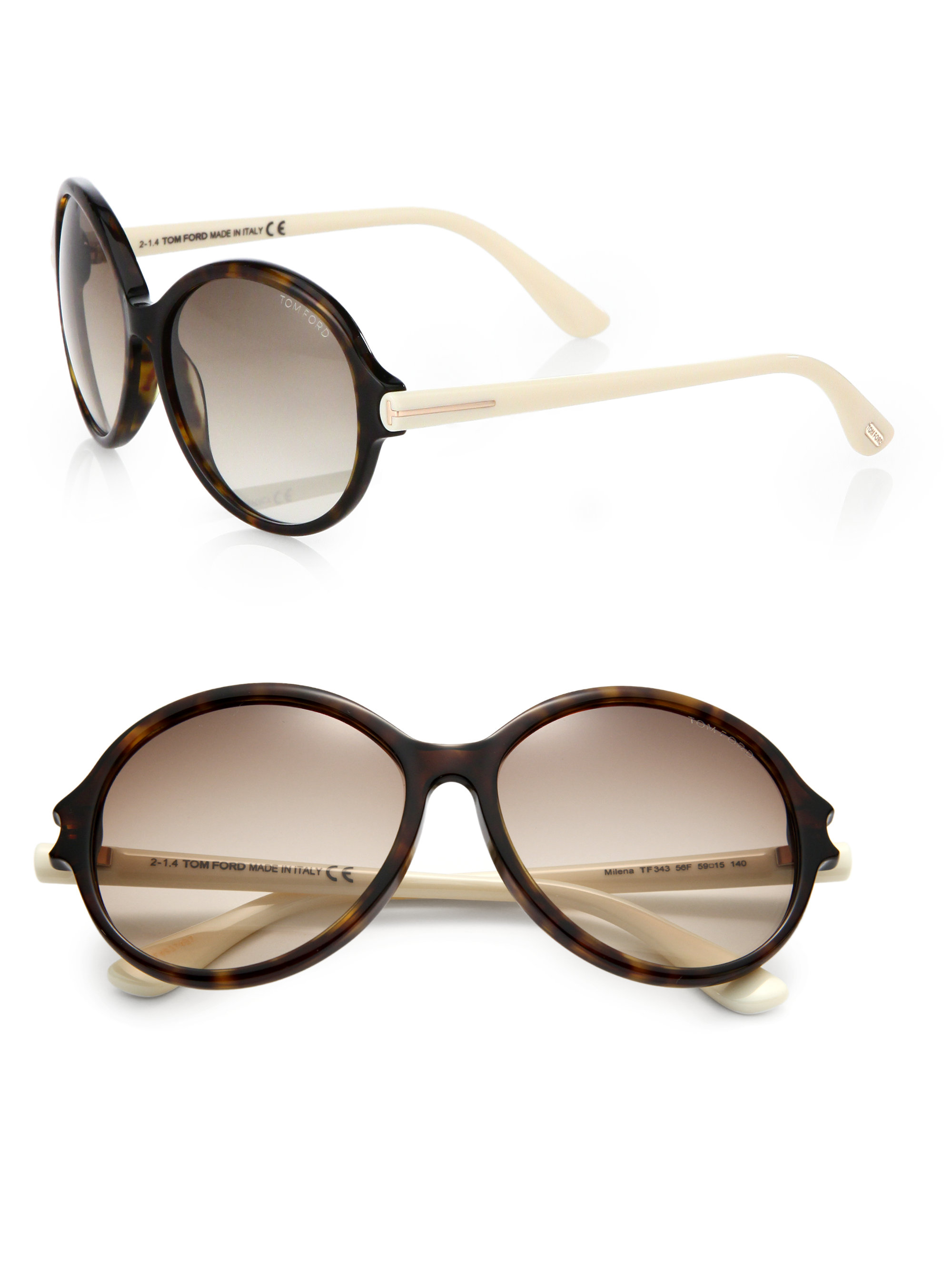 052b8807520 Lyst - Tom Ford Milena Round Sunglasses in Brown