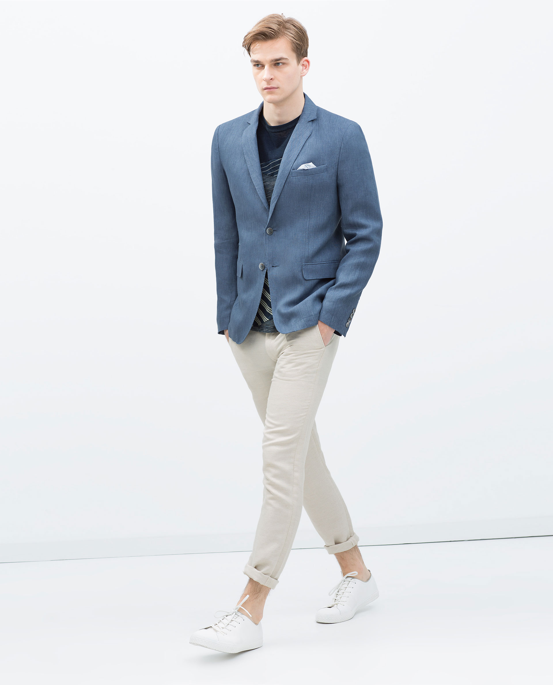 Zara Basic Linen Blazer Basic Linen Blazer in Blue for Men | Lyst