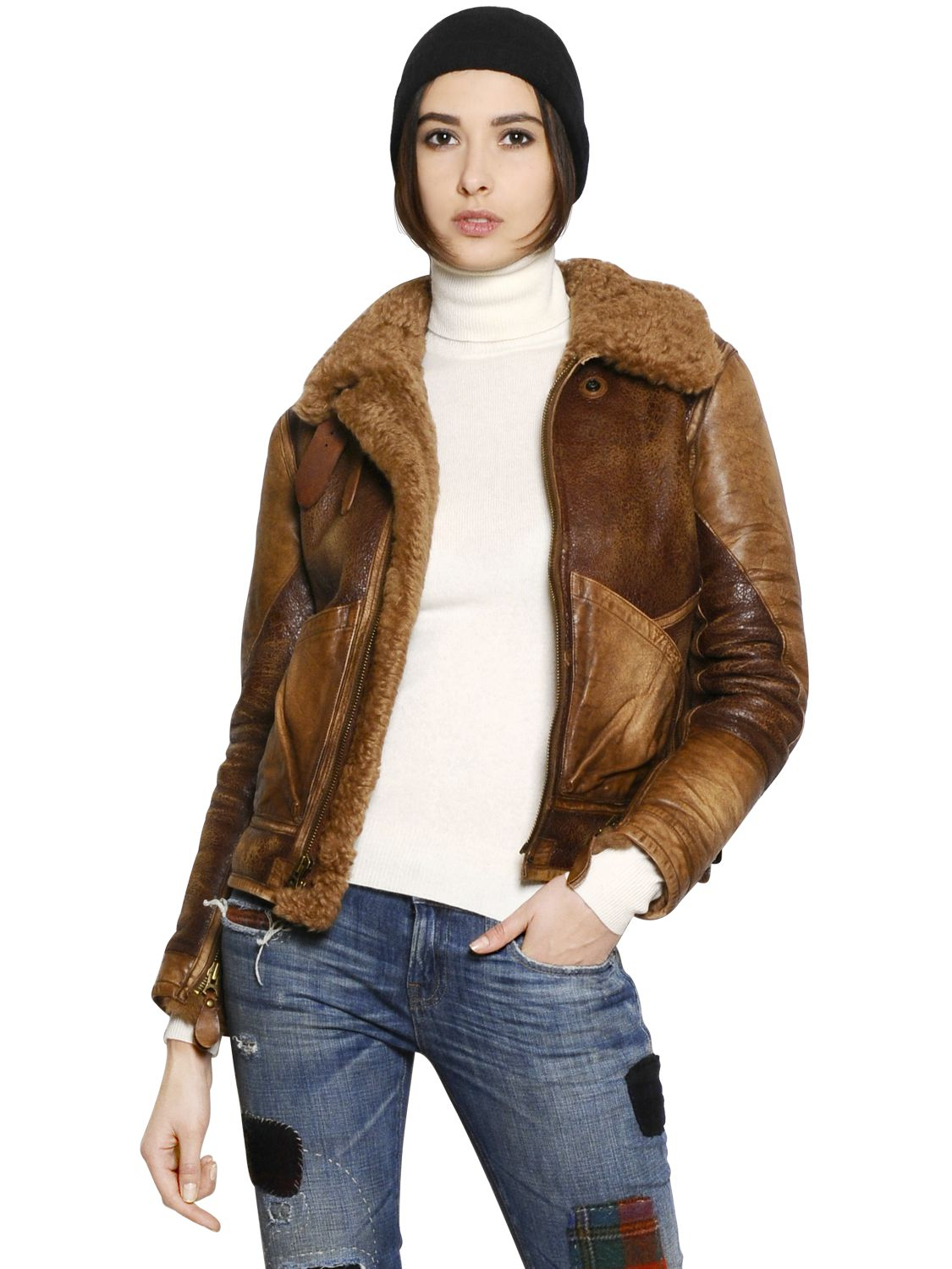 Ralph Lauren Fashion Show At New York: Polo Ralph Lauren Shearling Leather Jacket In Brown