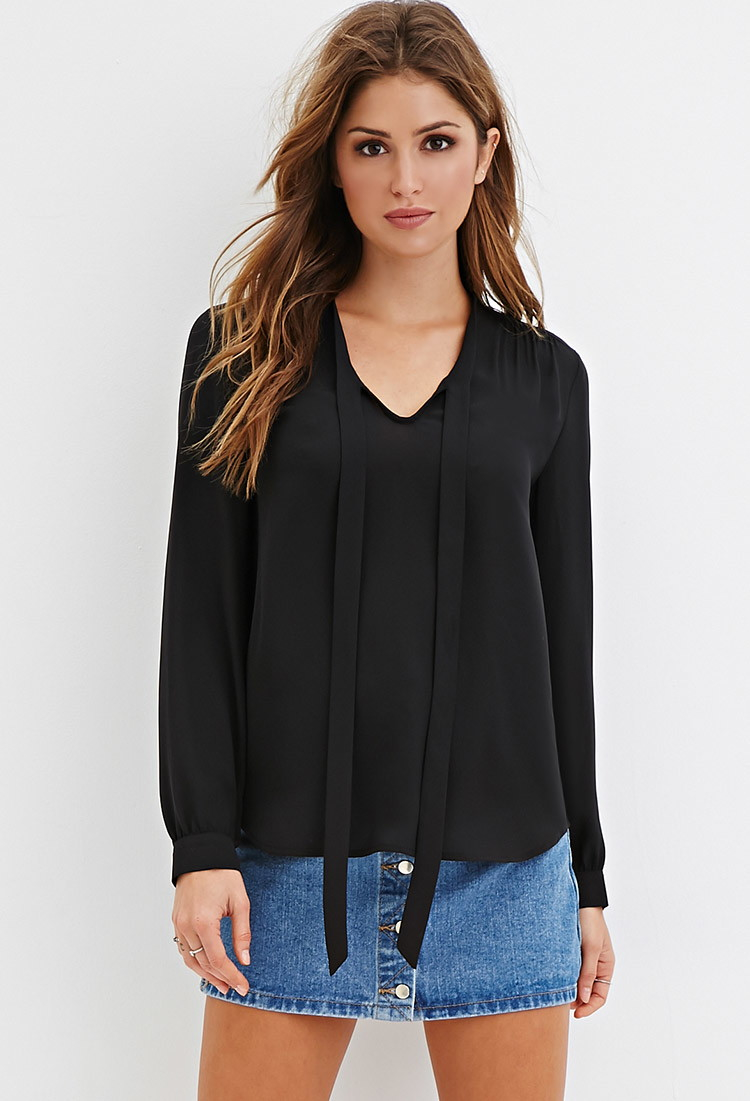 Forever 21 Tie Neck Blouse