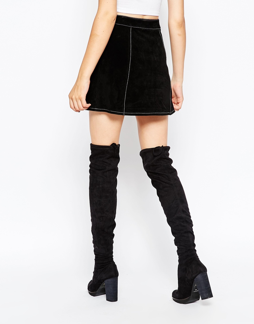 Asos A-line Suede Mini Skirt With Contrast Stitch And Button ...