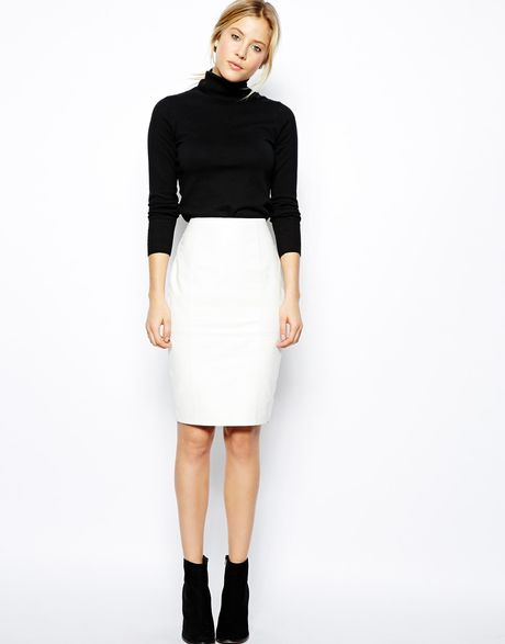 Leather Skirt White