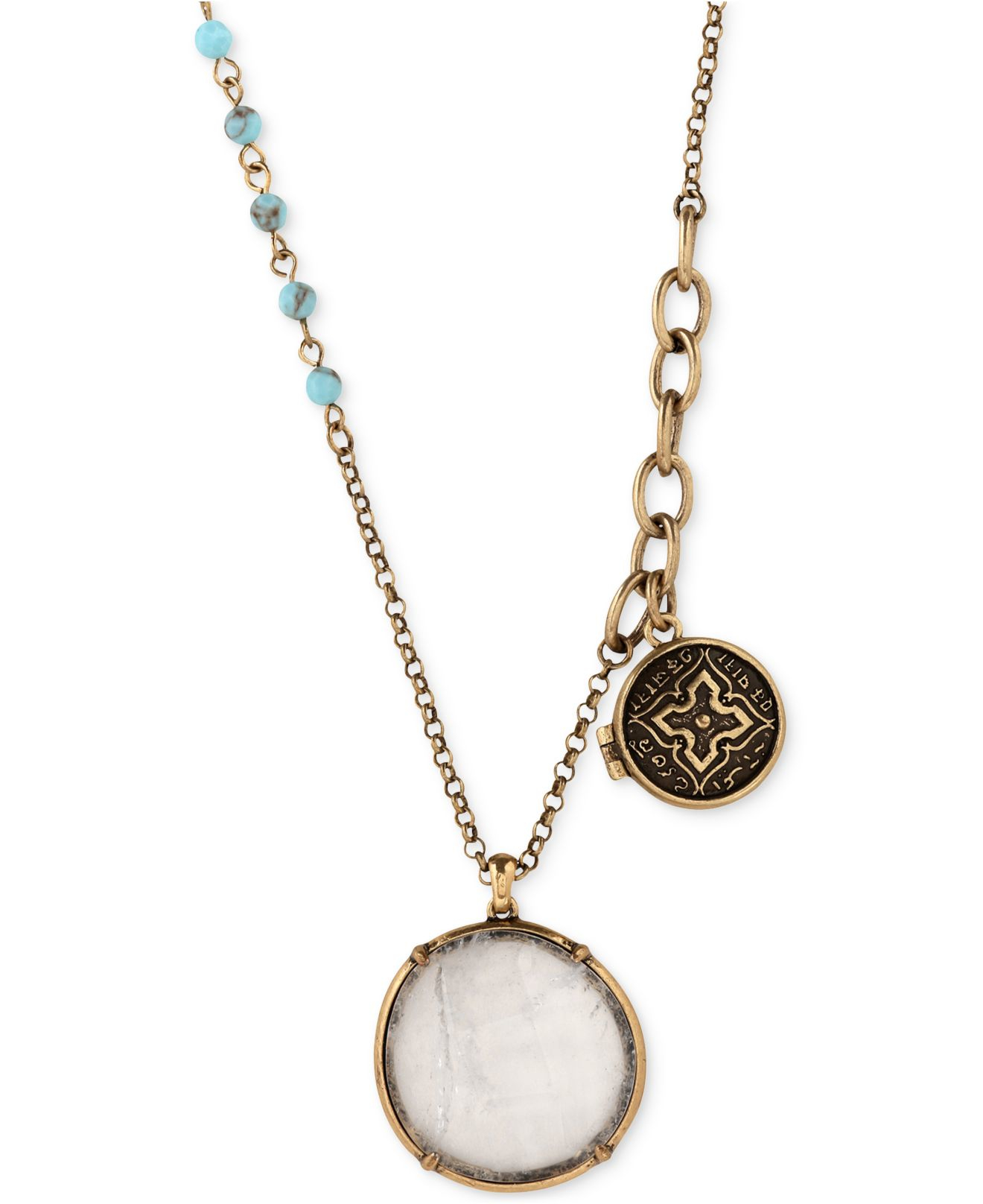 lucky brand locket necklace with charm in metallic lyst