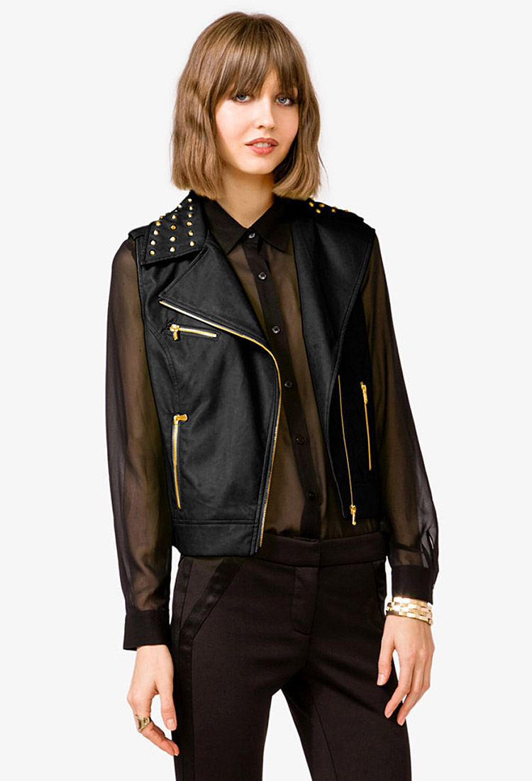 e4a33487e68 Lyst - Forever 21 Studded Faux Leather Moto Vest in Black