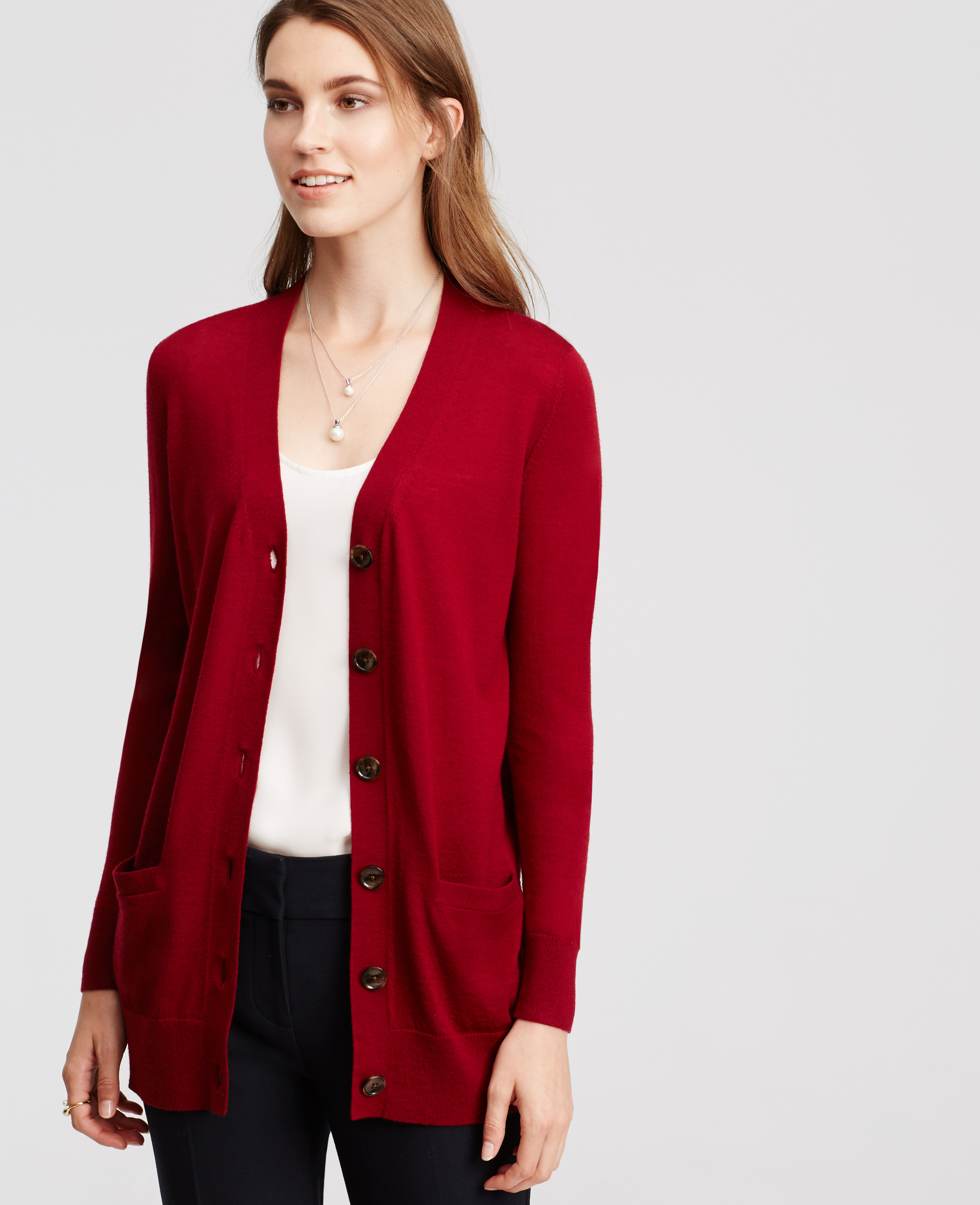 Ann taylor Merino Wool Boyfriend Cardigan in Red | Lyst