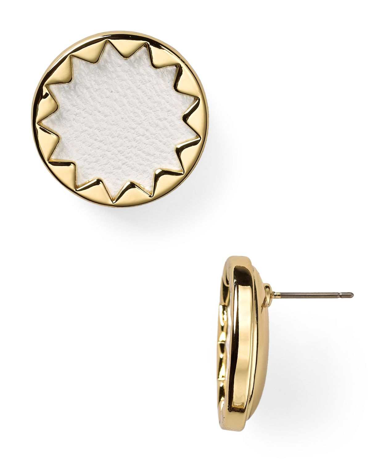 house of harlow 1960 1960 sunburst leather button earrings