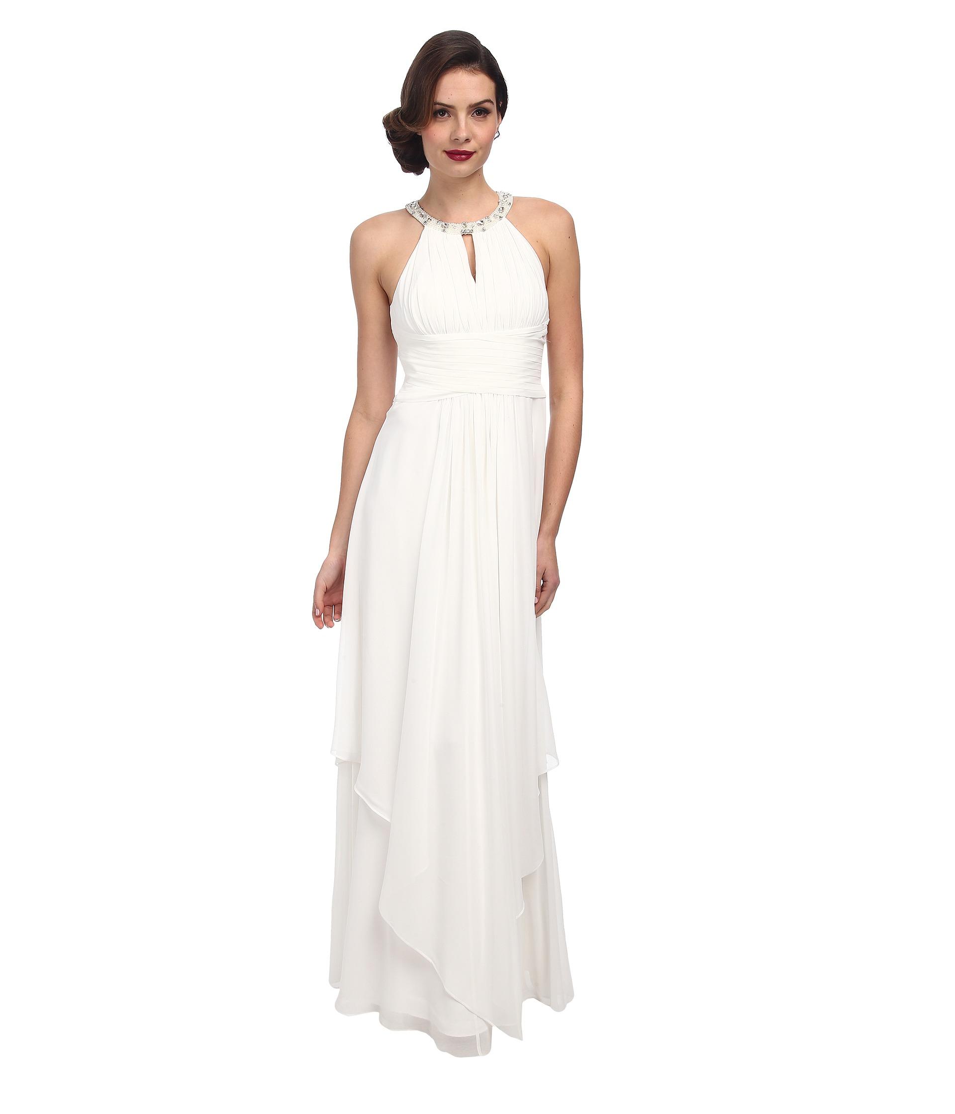 white halter beaded dress