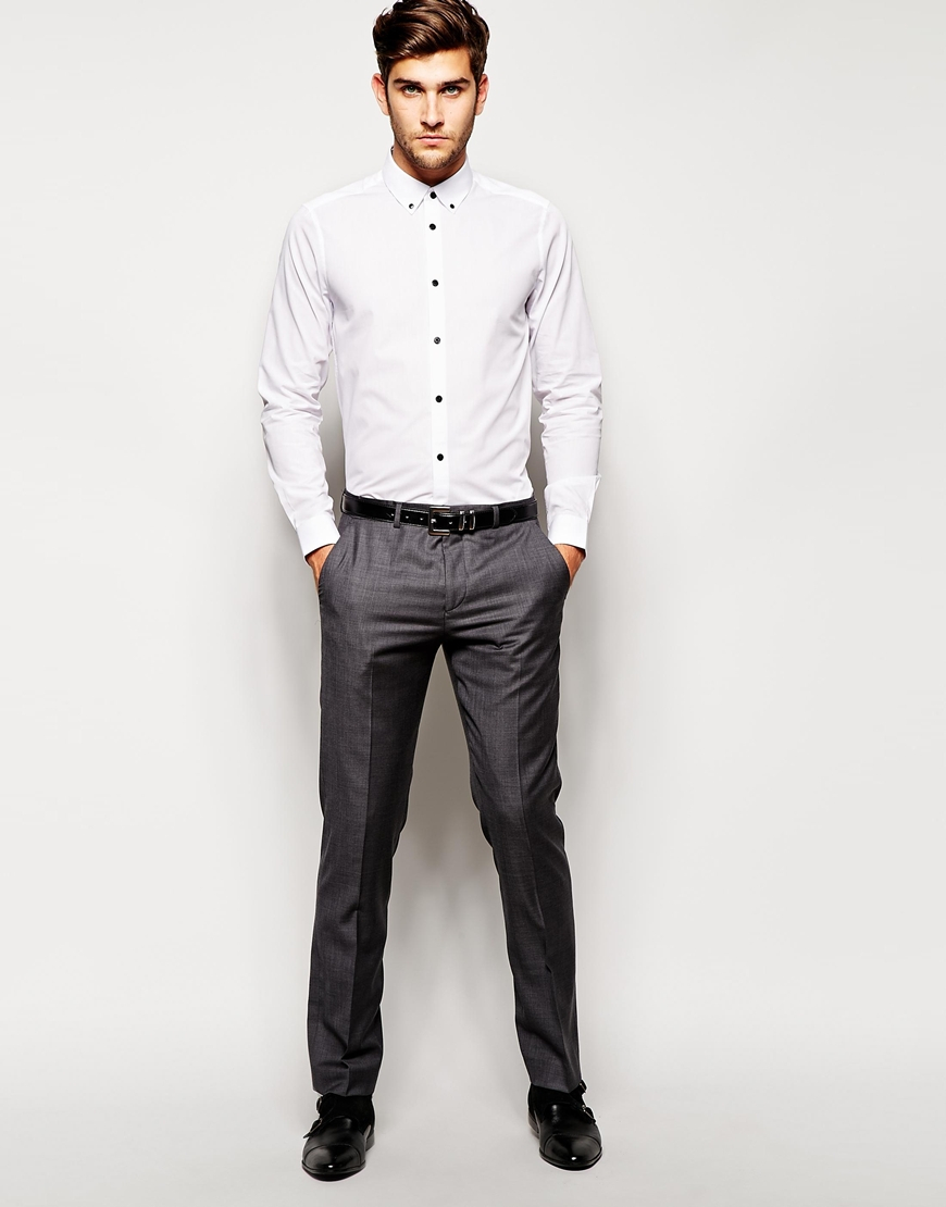 3f851ffe0102 ASOS Smart Shirt In Long Sleeve With Button Down Collar And Contrast ...