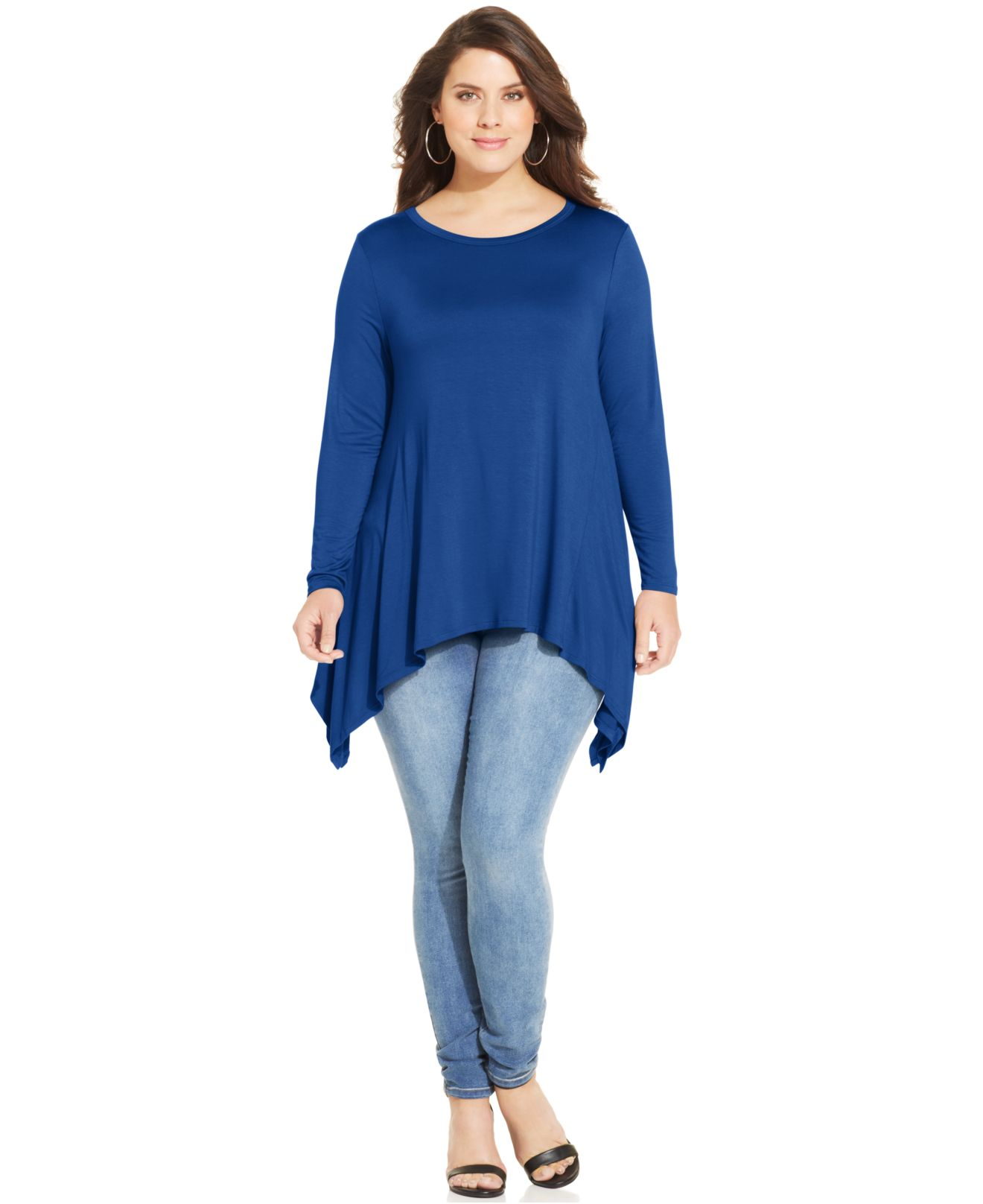 Soprano Plus Size Handkerchief Hem Top In Blue Snorkal