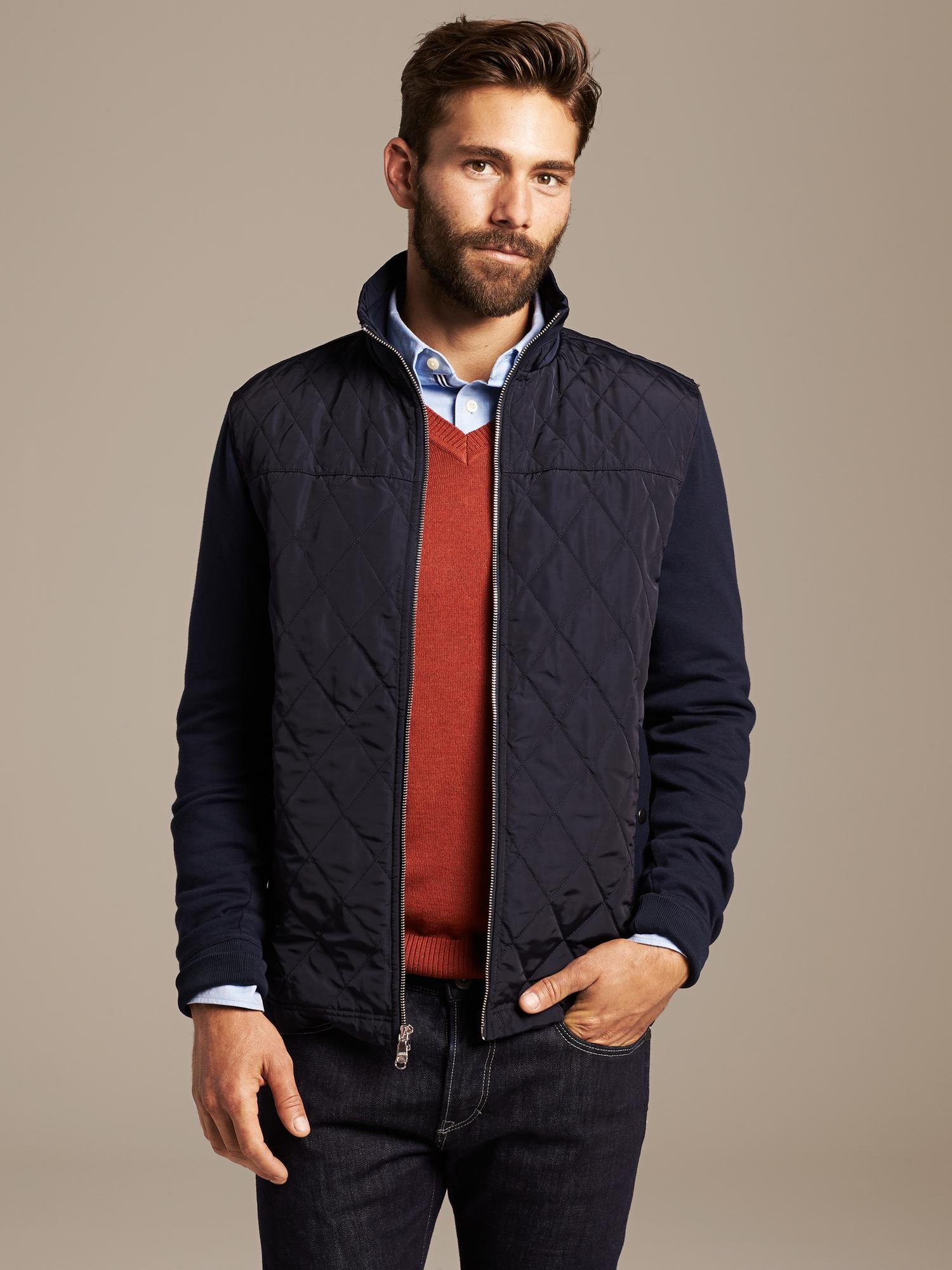 Lyst Banana Republic Quilted Hybrid Jacket In Blue For Men