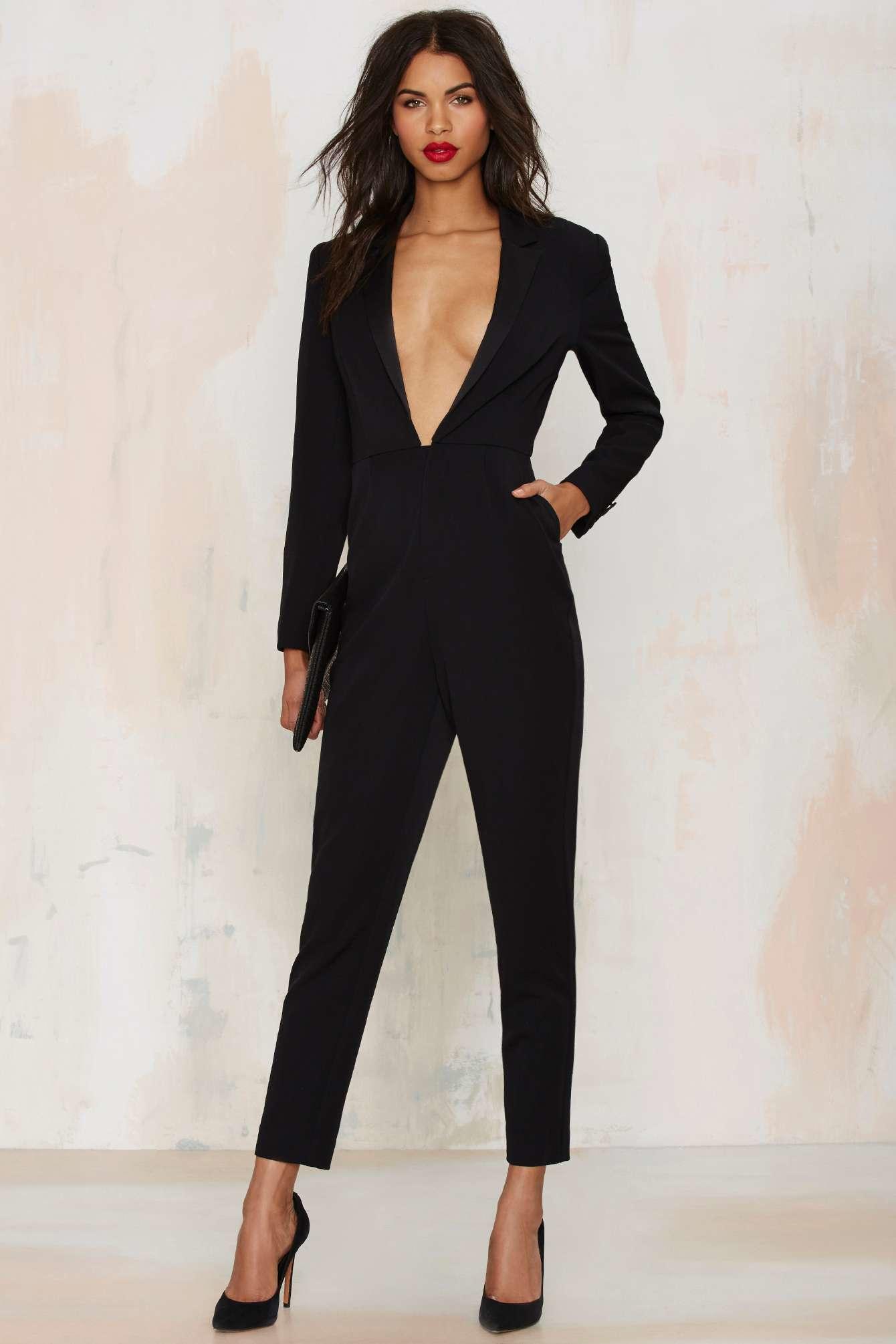 Lyst Nasty Gal Like A Boss Tuxedo Jumpsuit In Black