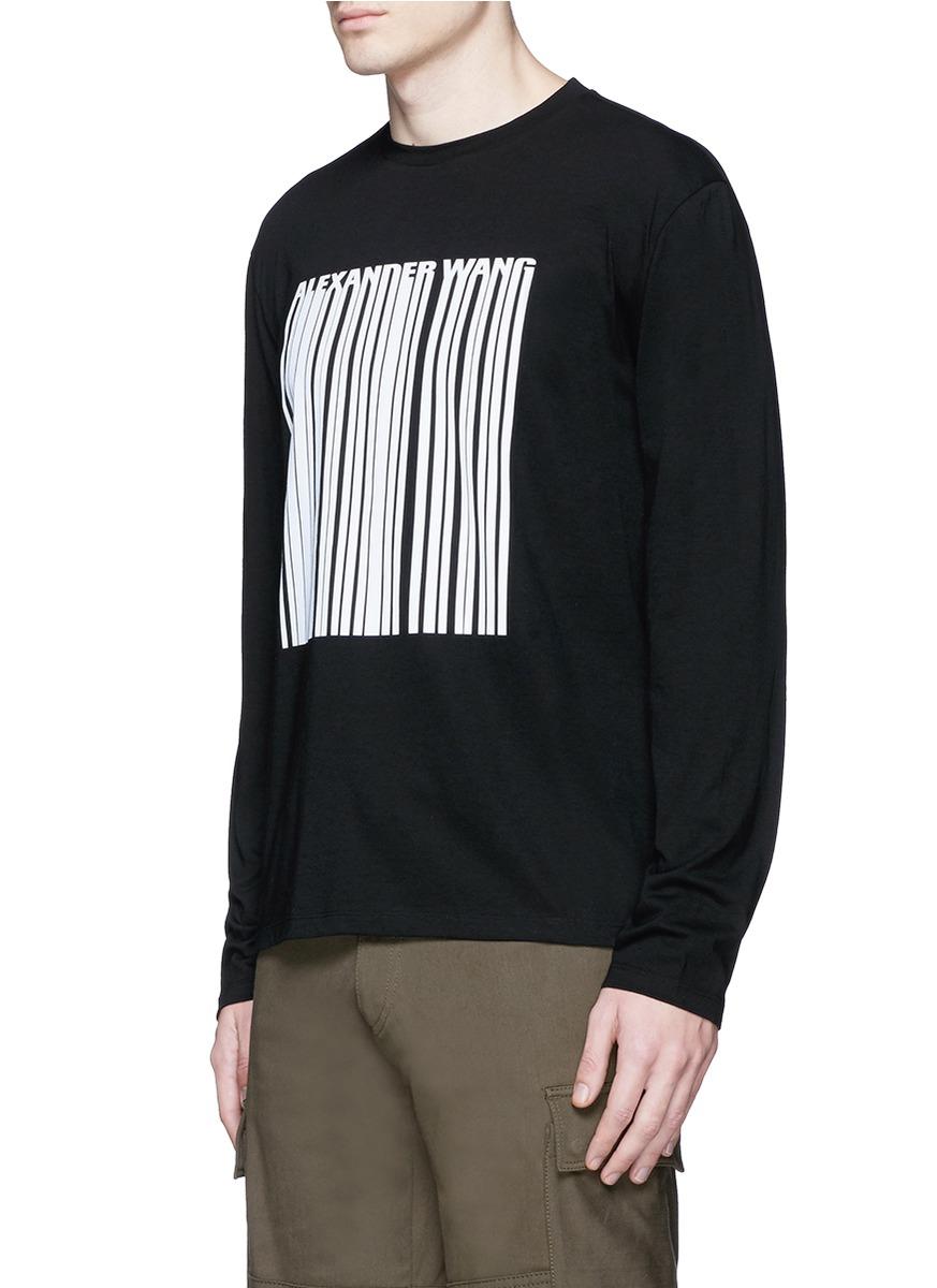 Lyst Alexander Wang Barcode Logo Print Long Sleeve T