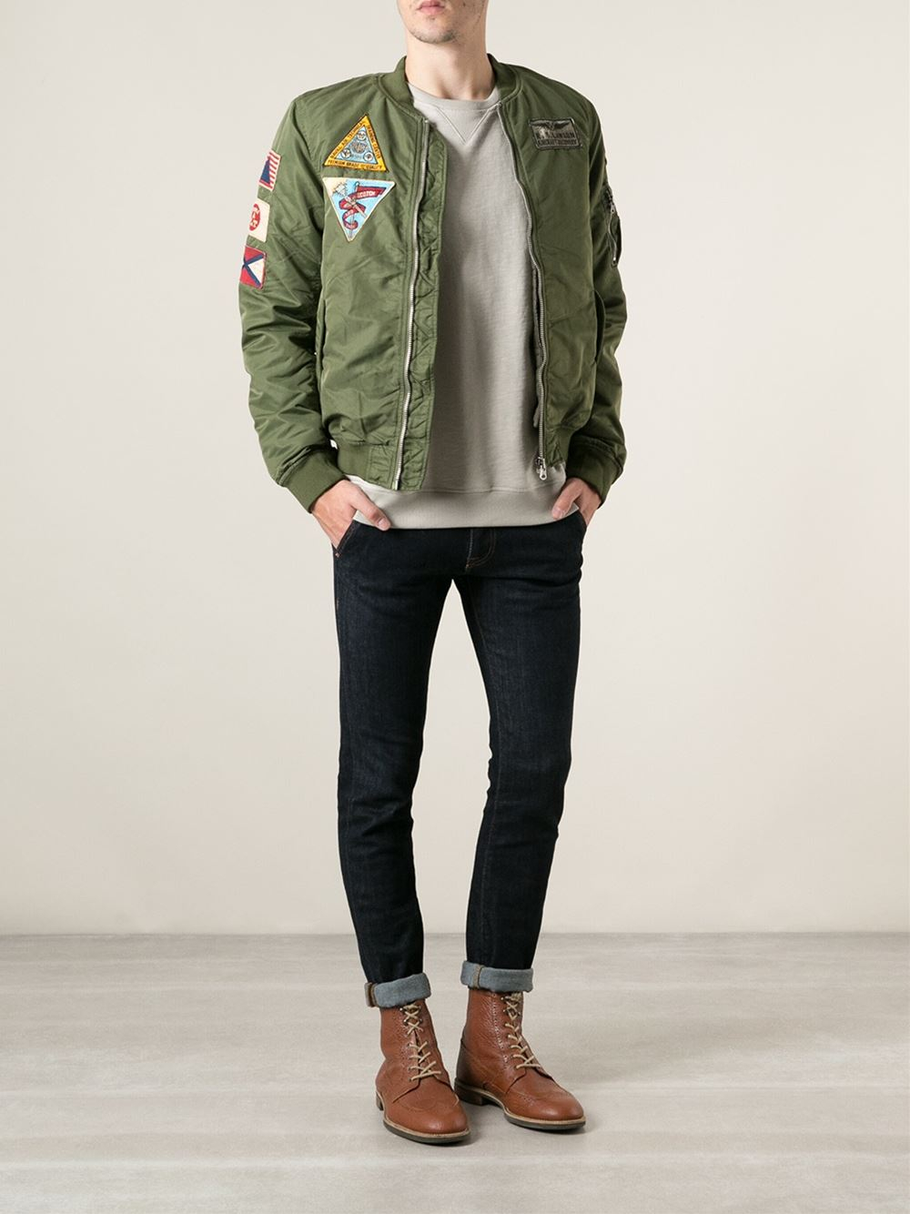 scotch soda military style patched jacket in green for. Black Bedroom Furniture Sets. Home Design Ideas