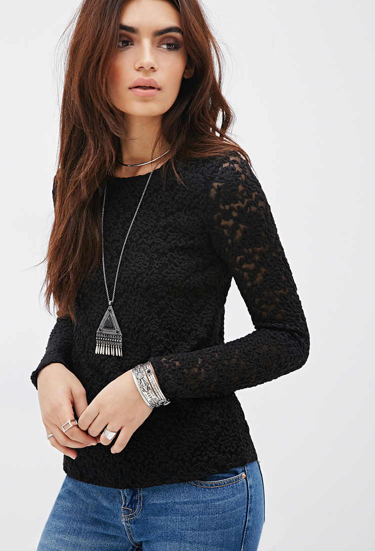 Lyst Forever 21 Fitted Floral Lace Top In Black