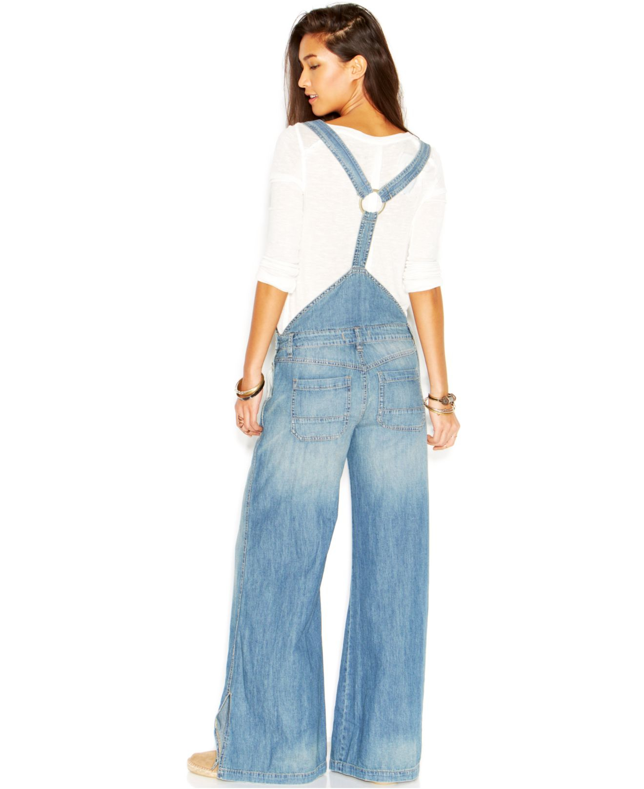 Lyst Free People D Ring Back Washed Chambray Wide Leg