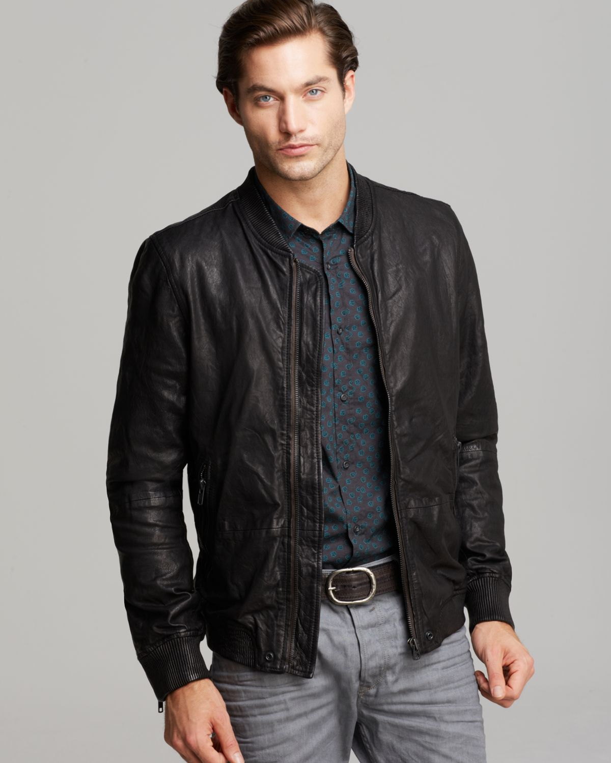 Diesel Ajuga Leather Jacket in Black for Men | Lyst