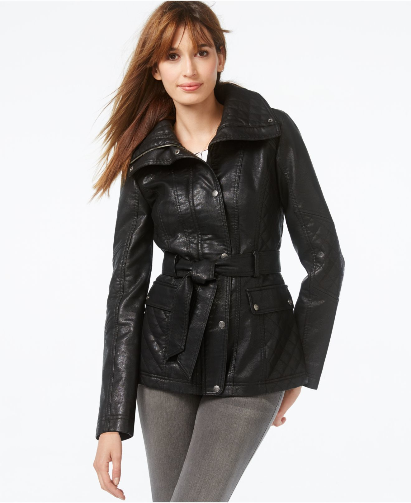 Lyst Jessica Simpson Snap Front Faux Leather Jacket In Black