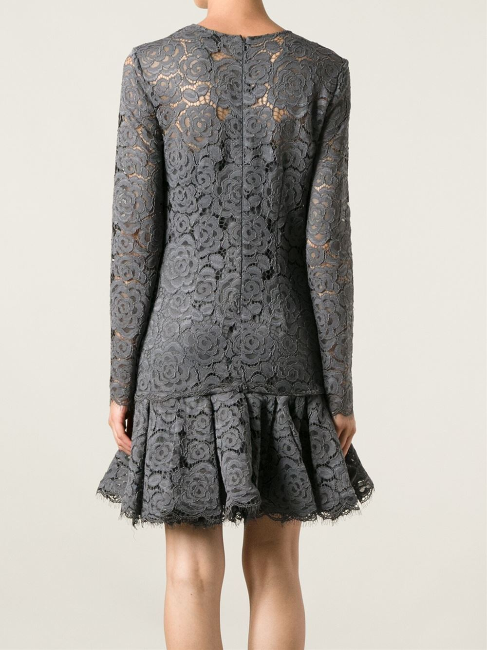 Wedding Gray Lace Dress dkny flared lace dress in gray lyst gallery