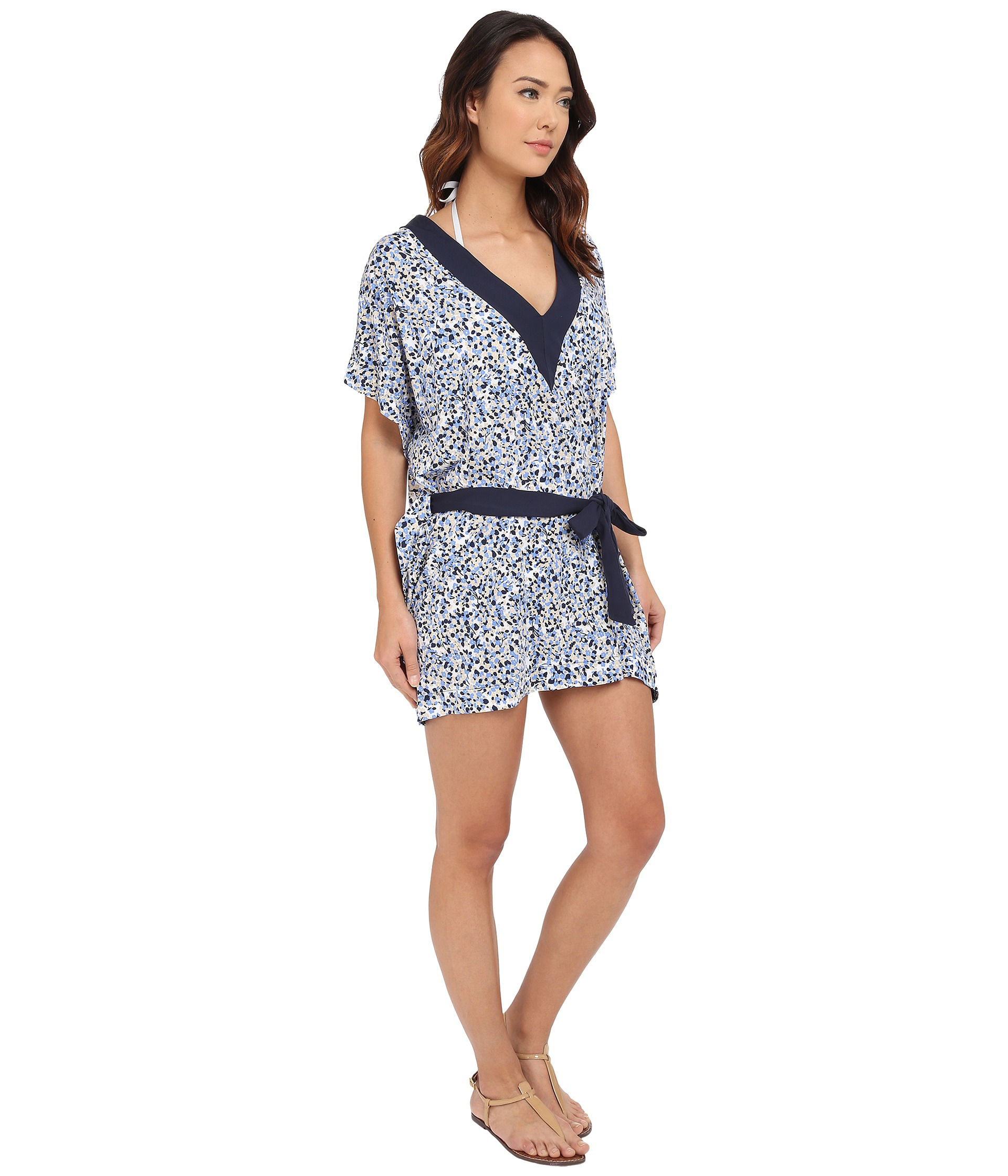 261fb7a445129 Lyst - MICHAEL Michael Kors Chilitington V-neck Tunic Cover-up in Blue
