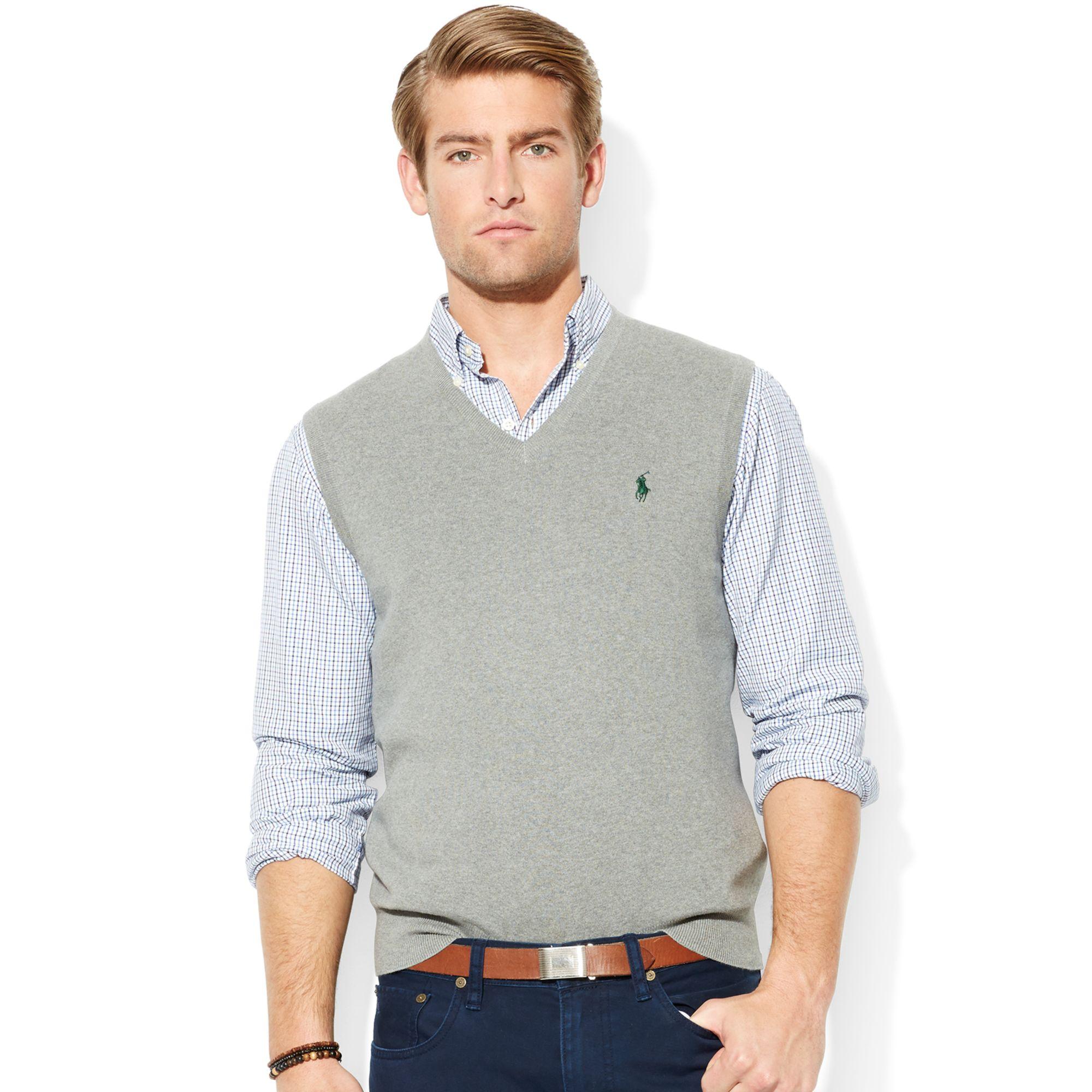 Polo Ralph Lauren Pima Cotton Vneck Sweater Vest In Gray