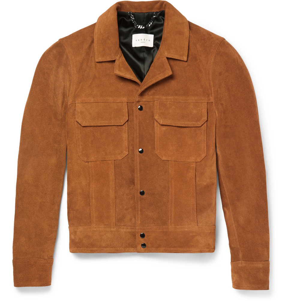 6ad507fb099 Lyst - Sandro Suede Jacket in Brown for Men