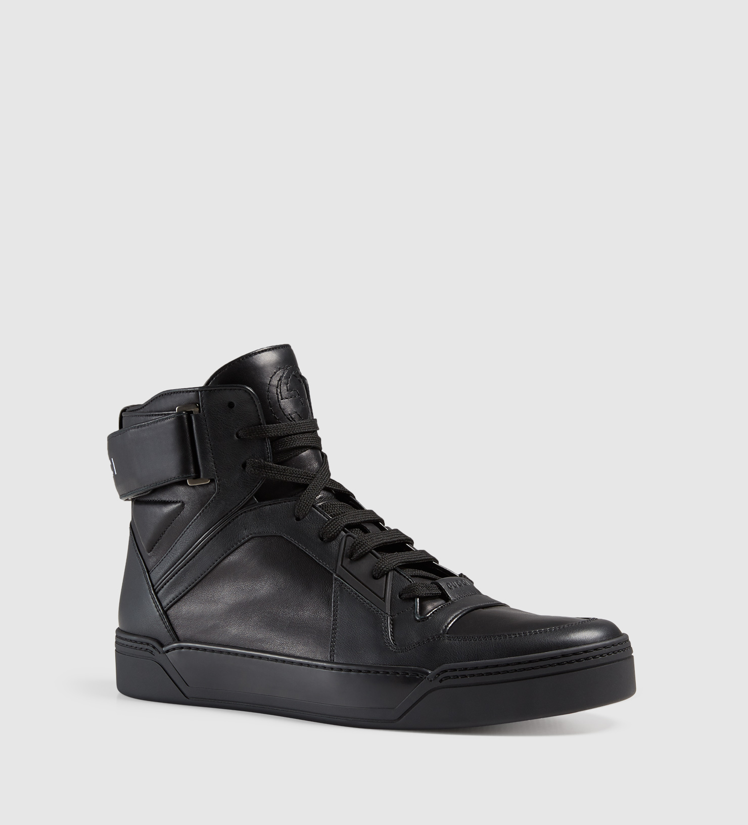 gucci leather high top sneaker in black for men lyst. Black Bedroom Furniture Sets. Home Design Ideas