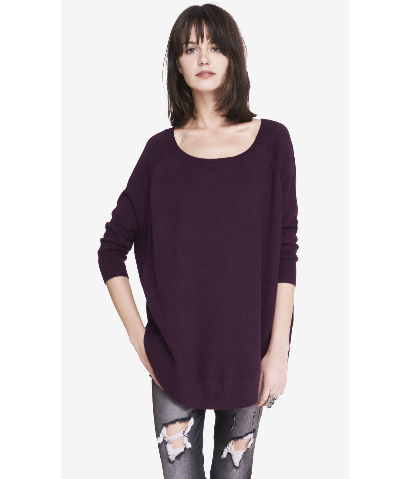 Express Extreme Circle Hem Tunic Sweater in Purple | Lyst