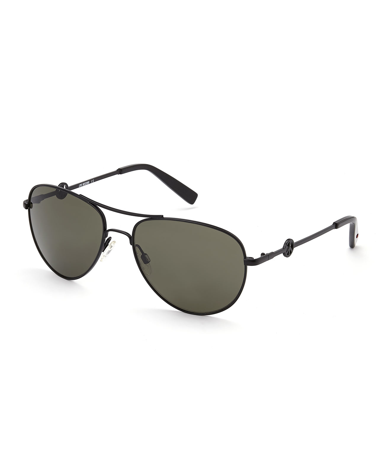 Lyst Love Moschino Ml51501 Black Aviator Sunglasses In Black