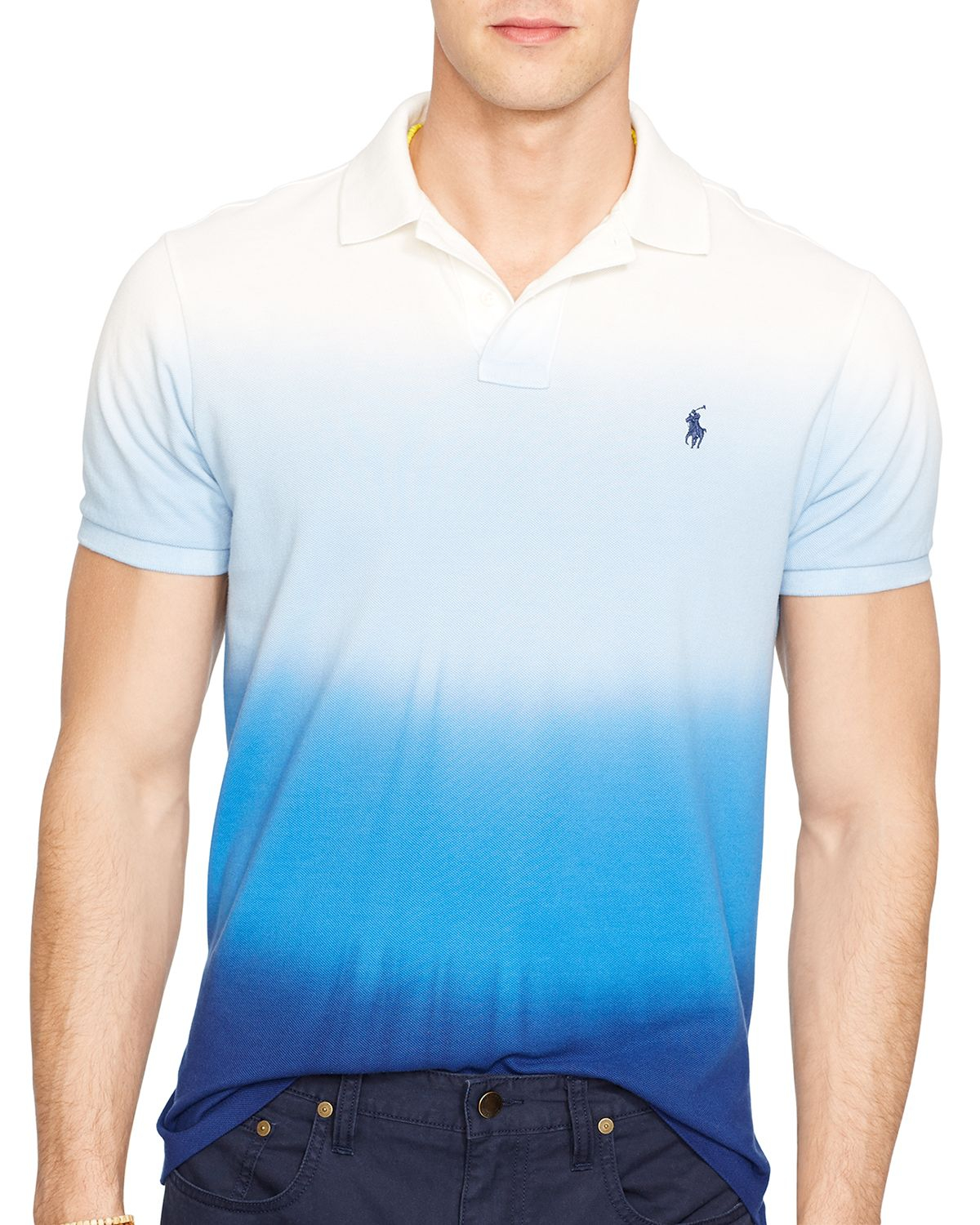 a3589411 Ralph Lauren Polo Custom-fit Dip-dyed Polo Shirt - Slim Fit in Blue ...