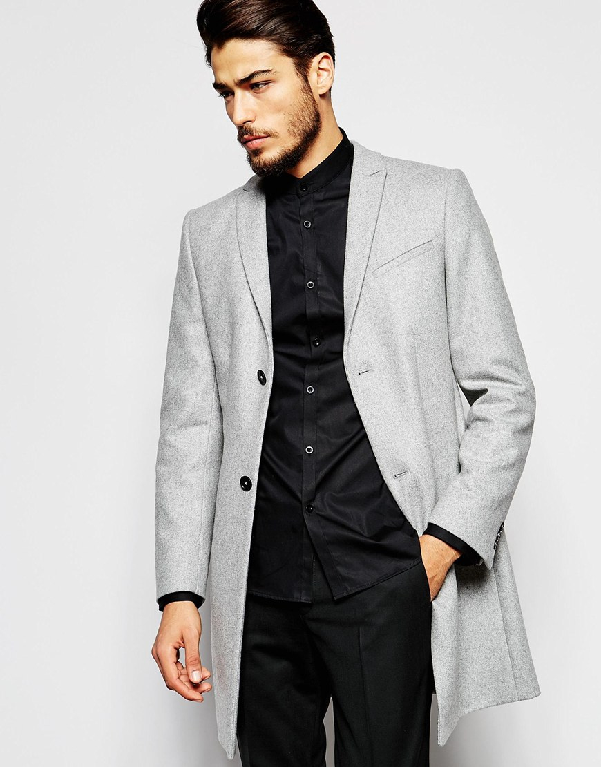 Noak Wool Overcoat In Super Skinny Fit - Gray in Gray for Men | Lyst