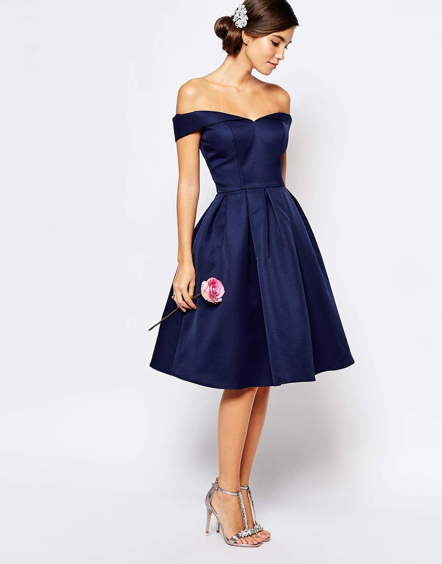 chi chi midi prom dress with skirt and bardot