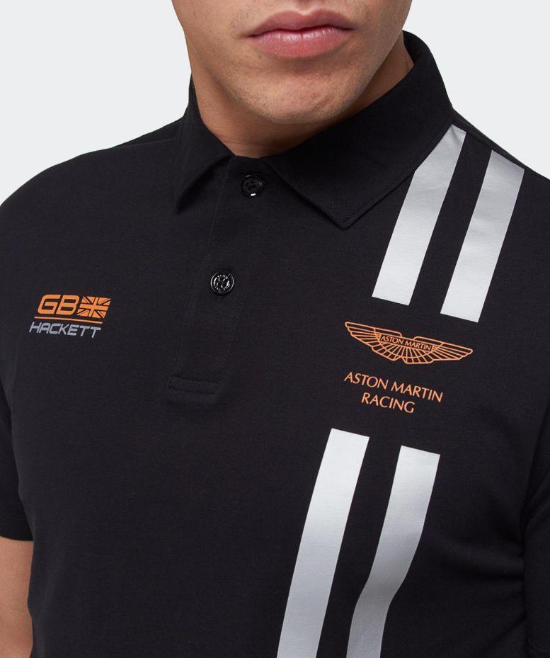 Lyst Hackett Aston Martin Racing Stripe Polo Shirt In Black For Men - Aston martin shirt
