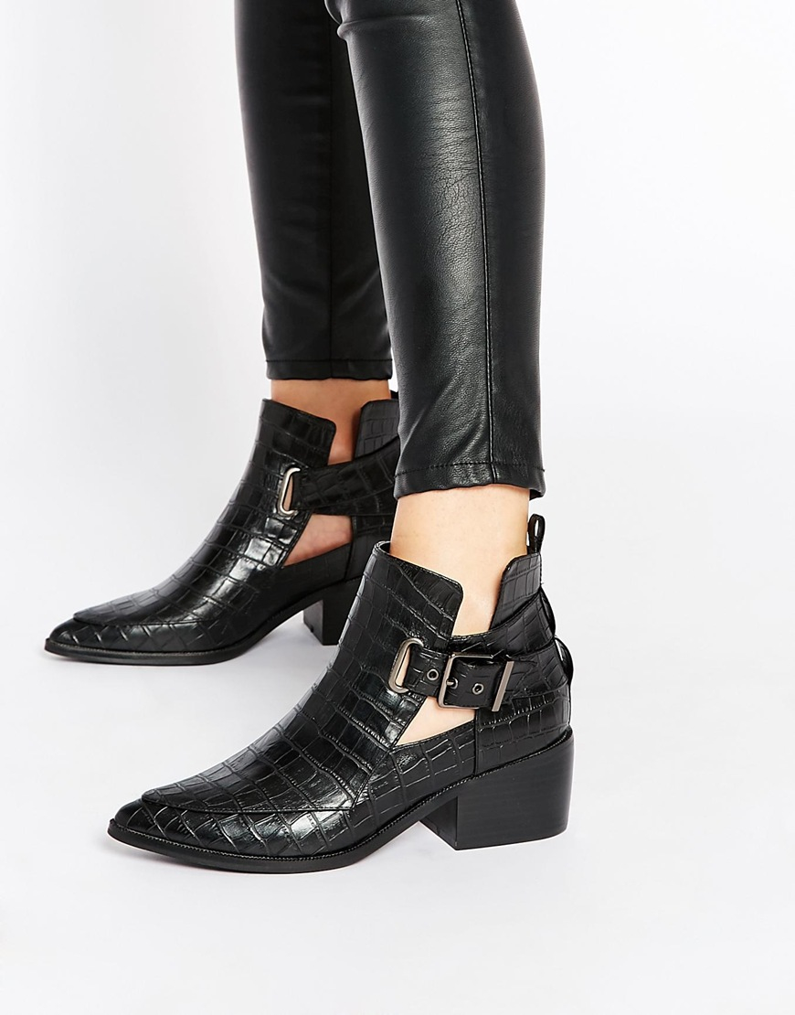 Lyst Asos Relish Cut Out Pointed Ankle Boots In Black
