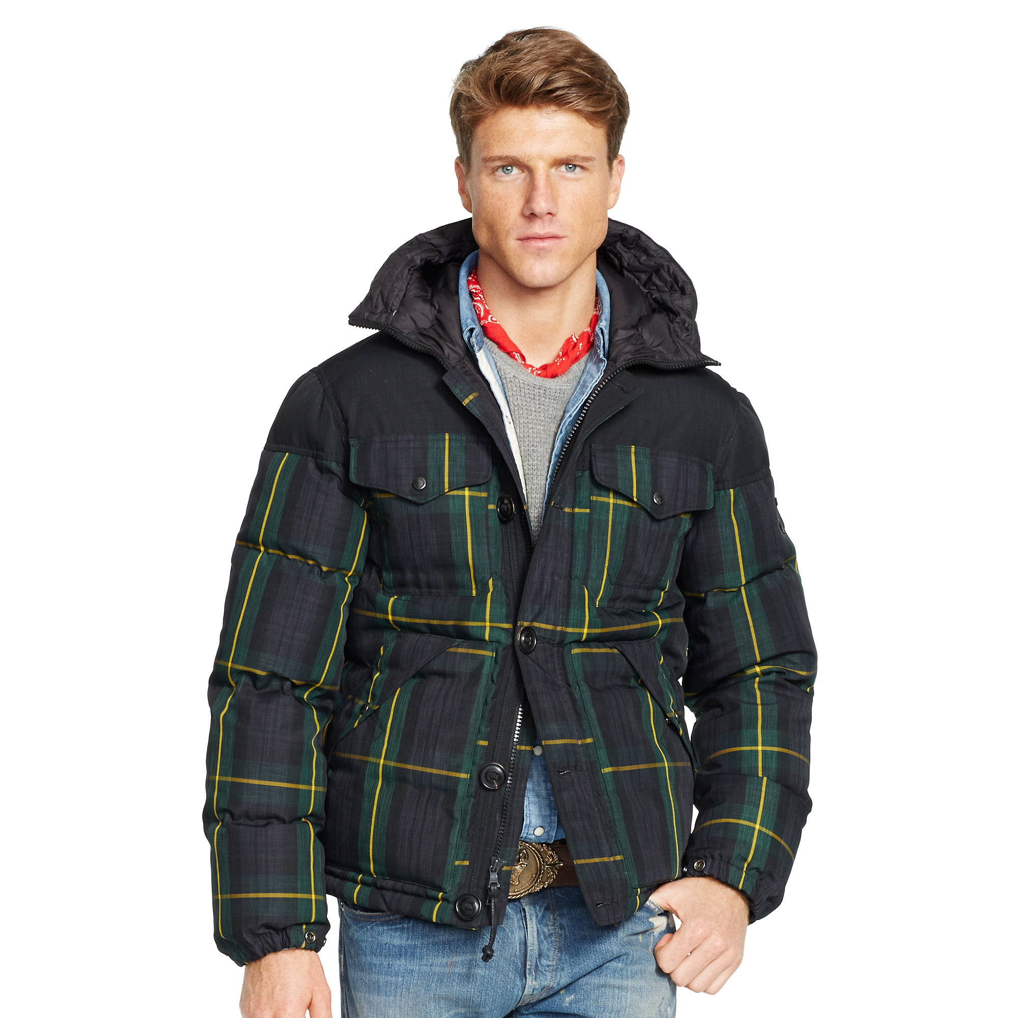 Polo Ralph Lauren Tartan Quilted Down Jacket In Green For