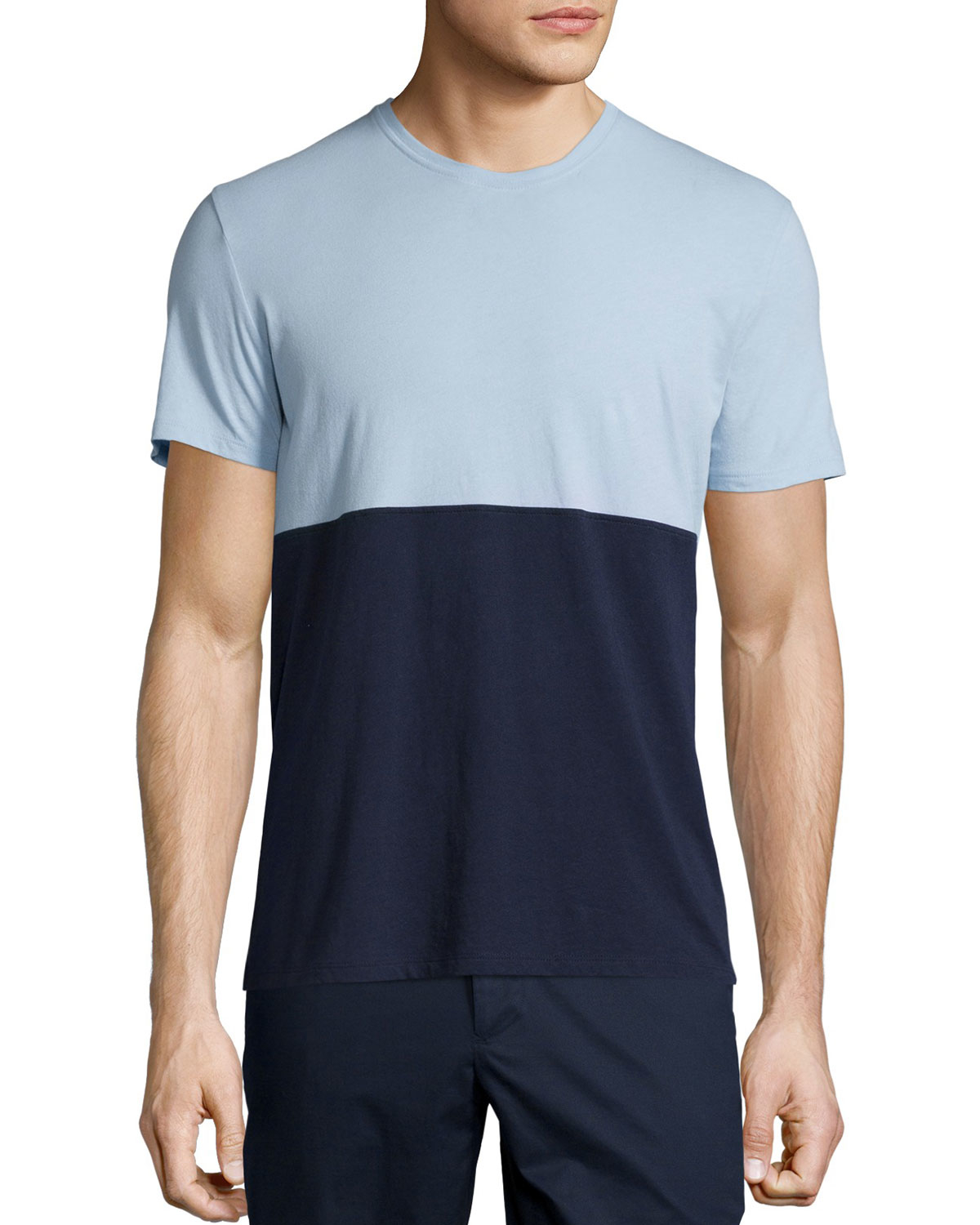 atm colorblock short sleeve jersey t shirt in blue for men
