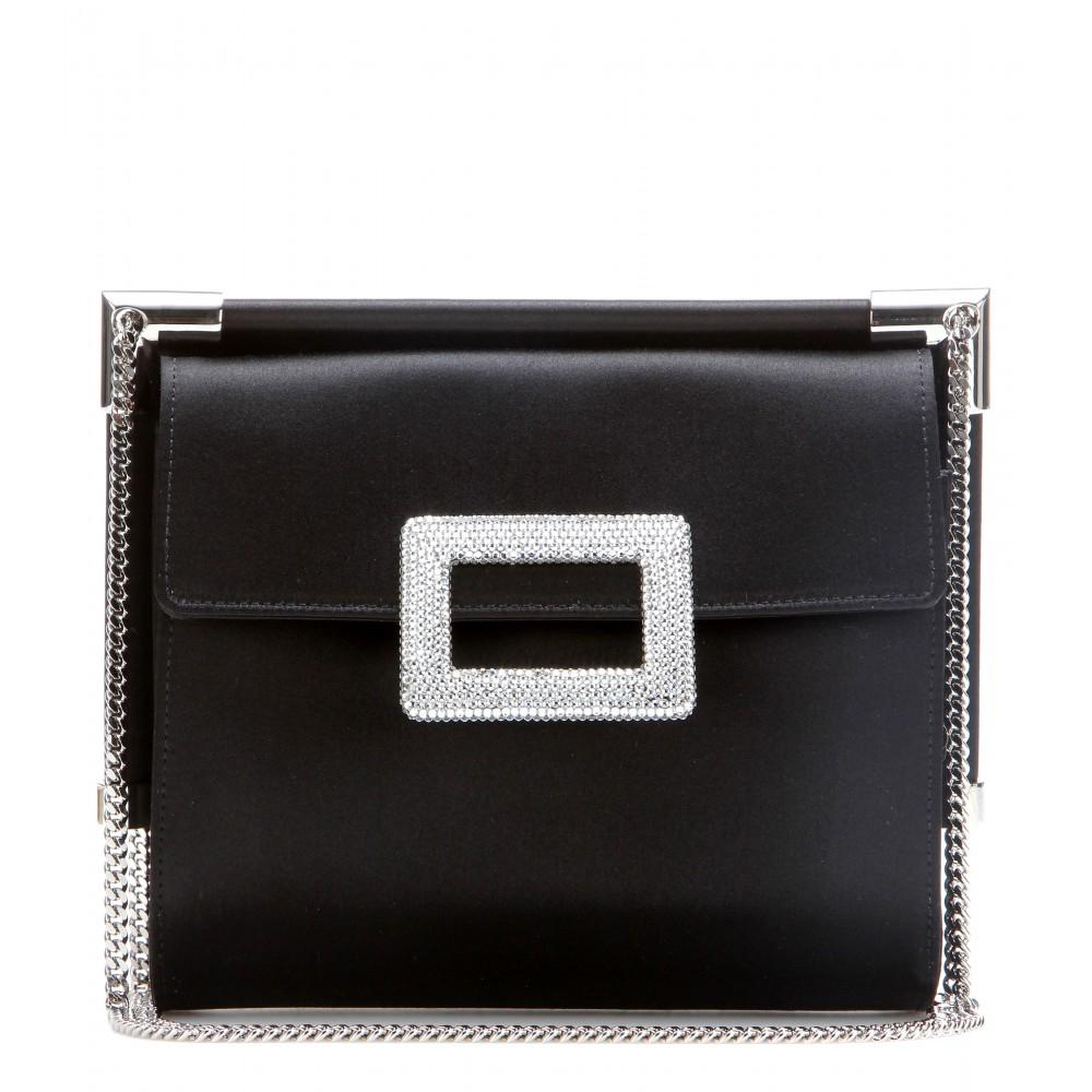 Lyst - Roger Vivier Prismick Mini Fringe Suede Shoulder Bag in Black a4f61ced388a2