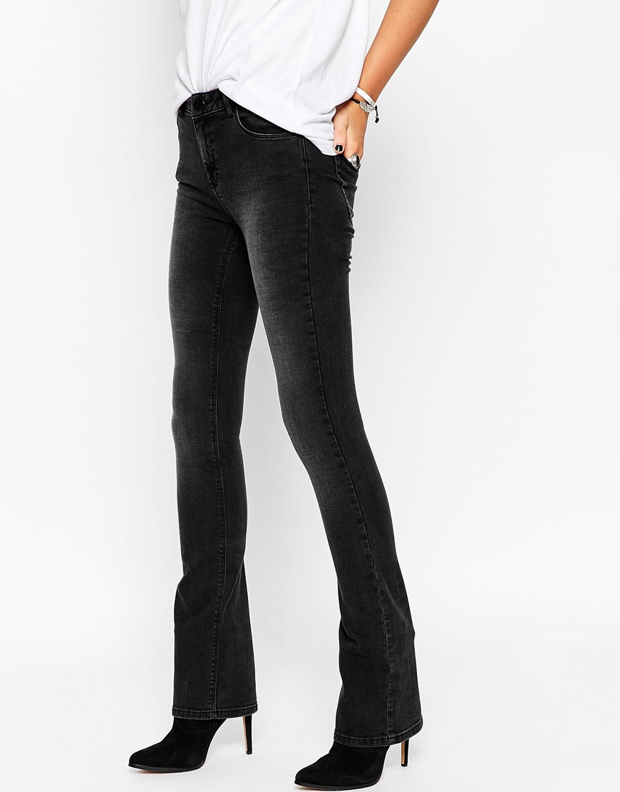Asos Petite Baby Kick Flare Jeans In Washed Black in Black | Lyst