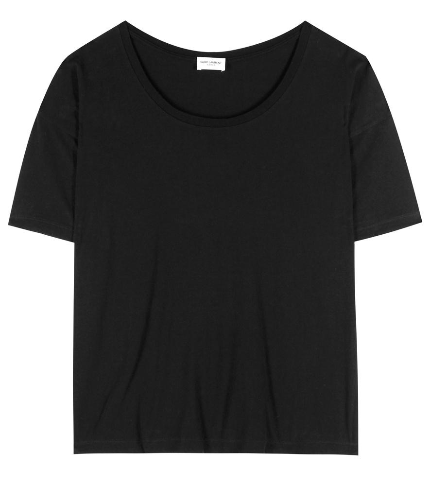 Saint laurent cotton t shirt in black lyst for Saint laurent t shirt