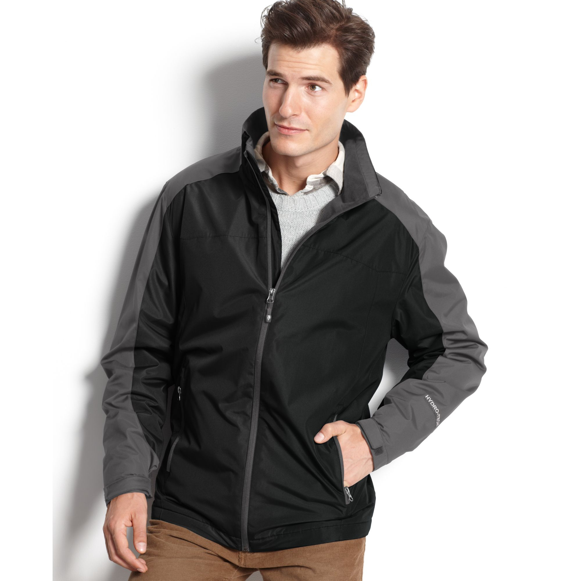 Weatherproof water resistant fleece lined jacket in gray for Weatherproof vintage men s lightweight flannel shirt
