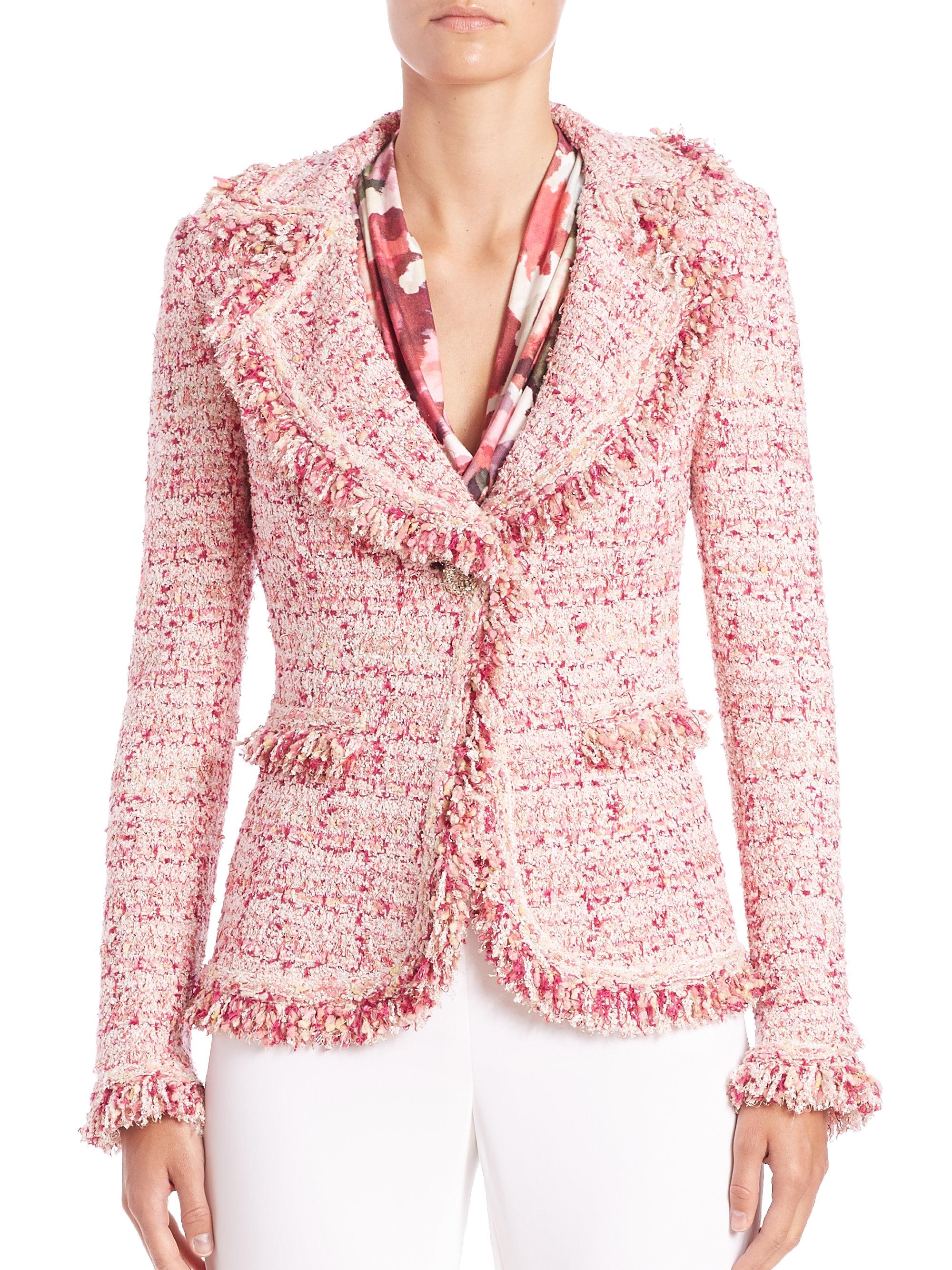 St. john Fringed Tweed Jacket in Pink | Lyst