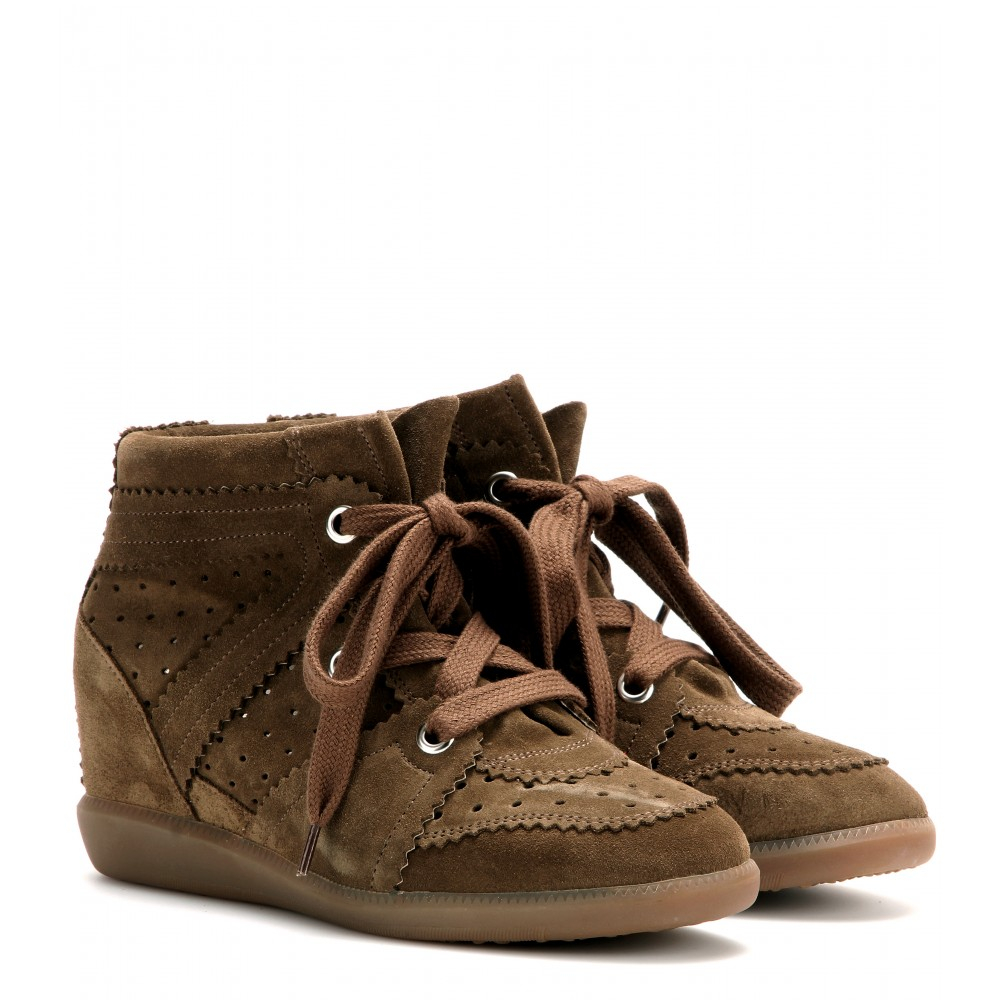 isabel marant bobby suede wedge sneakers in brown lyst. Black Bedroom Furniture Sets. Home Design Ideas