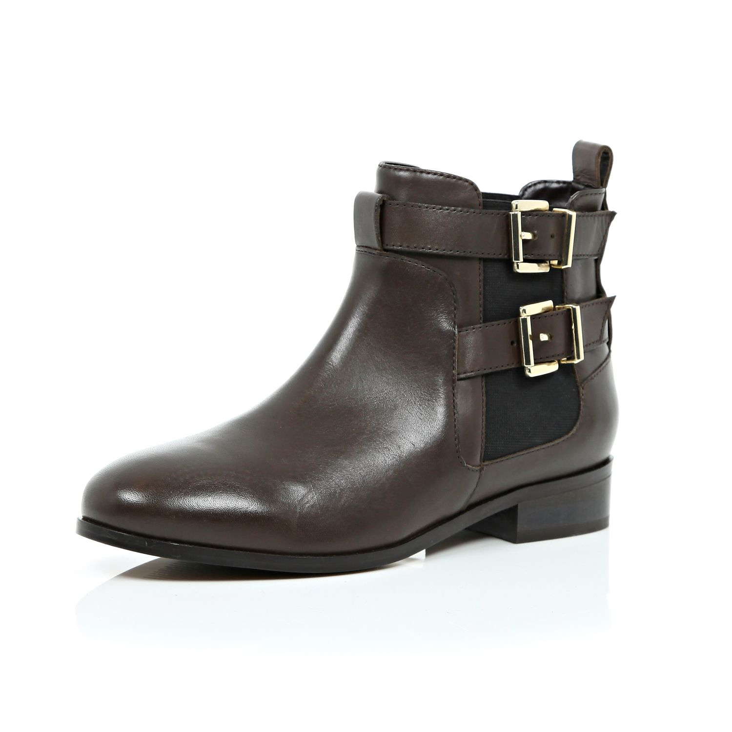 river island brown leather buckle chelsea boots in