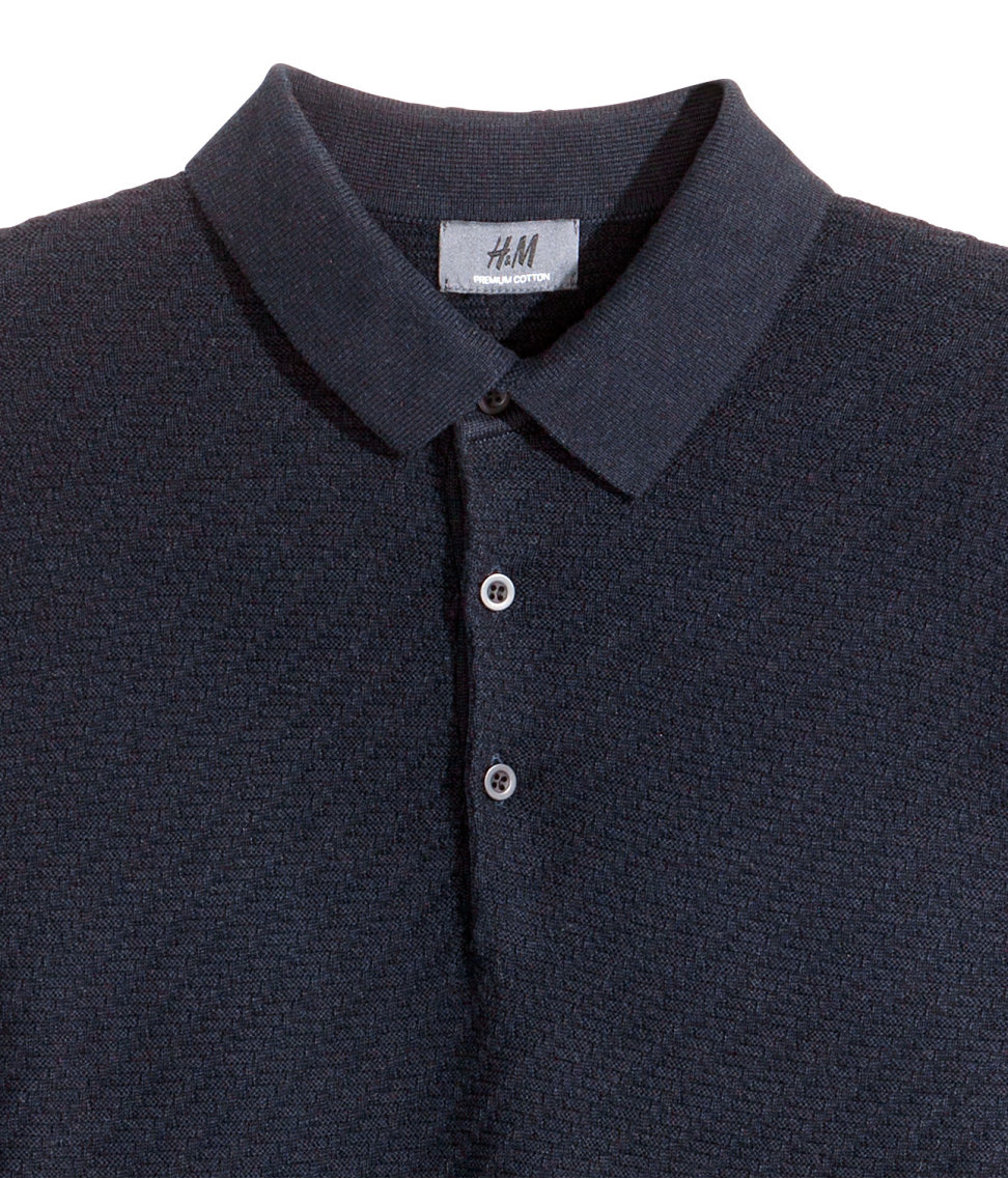 H m polo shirt in premium cotton in blue for men lyst for H m polo shirt mens